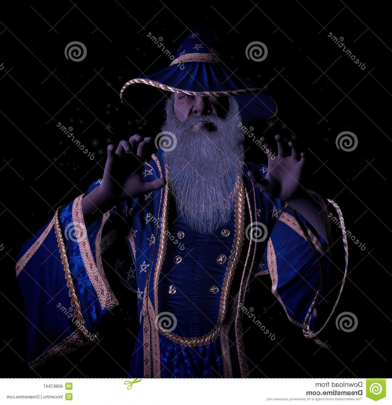 Universal Studios Wizard Hat Vector: Stock Illustration Crazy Grumpy Old Wizard Casting Magic Spell His Both Hands Grasping Towards Subject Front Image