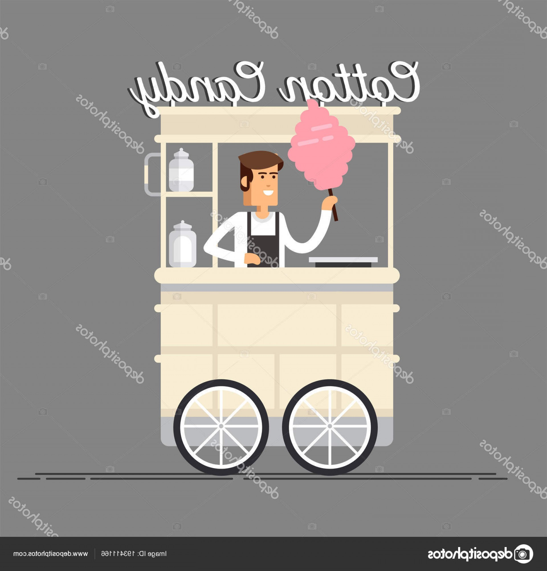 Candy Seller Vector: Stock Illustration Creative Detailed Vector Street Cotton