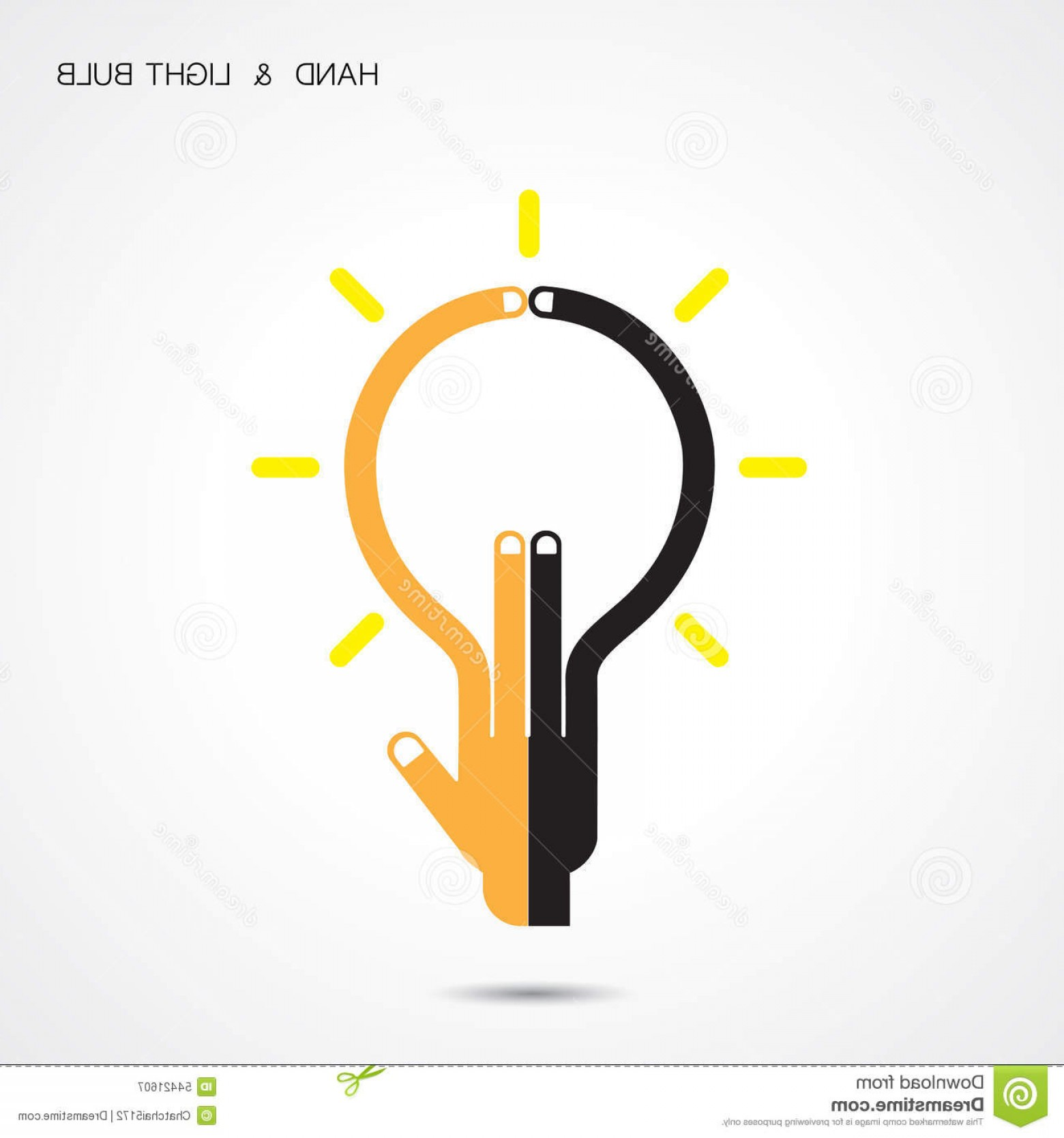 Creative Light Bulb Vector: Stock Illustration Creative Light Bulb Hand Icon Abstract Logo Design Vector Te Template Corporate Business Logotype Symbol Image