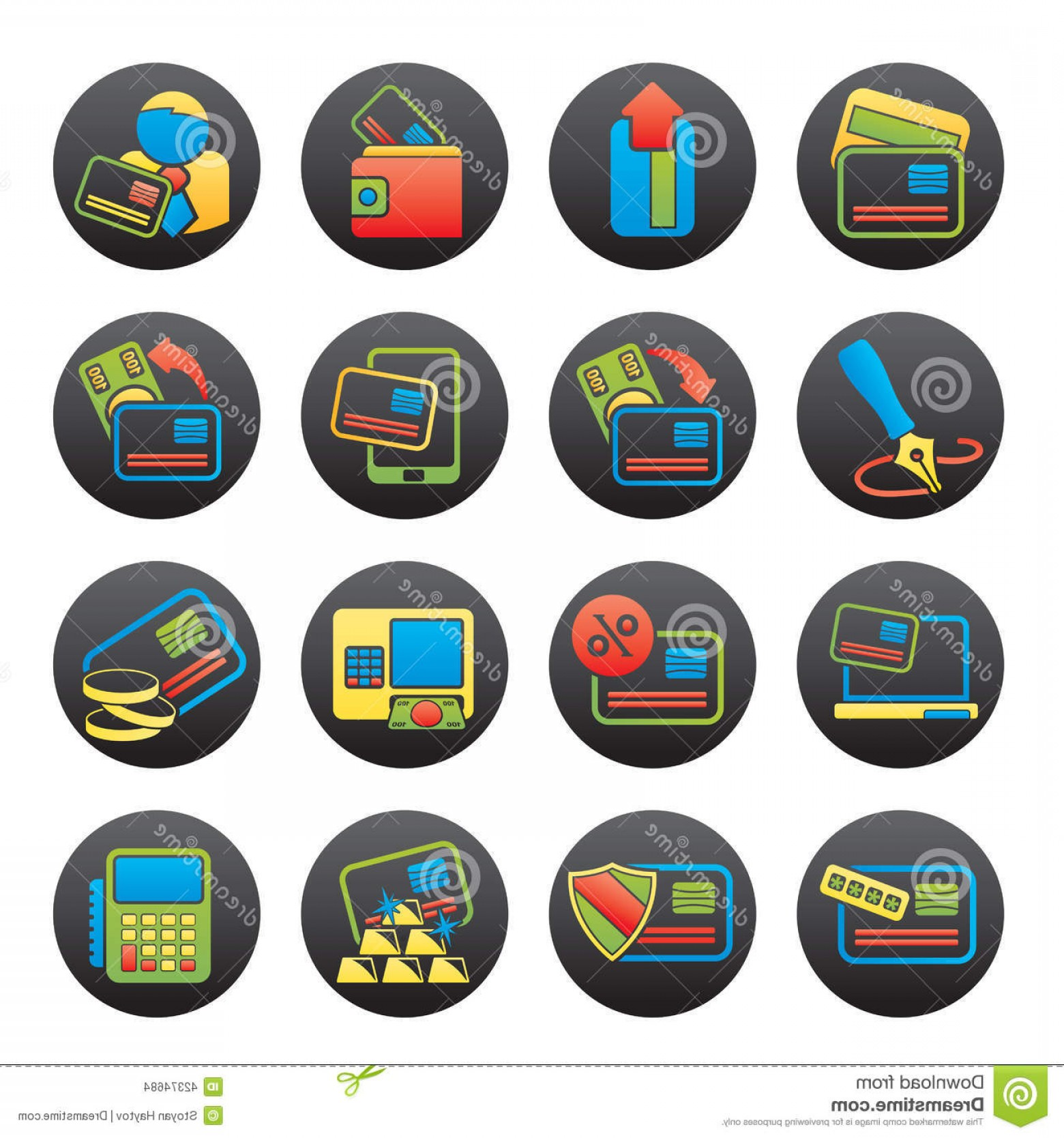 Point Of Sale Icon Vector: Stock Illustration Credit Card Pos Terminal Atm Icons Vector Icon Set Image