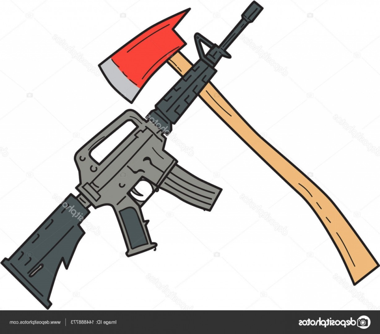 M4 Gun Vector: Stock Illustration Crossed Fire Ax And M