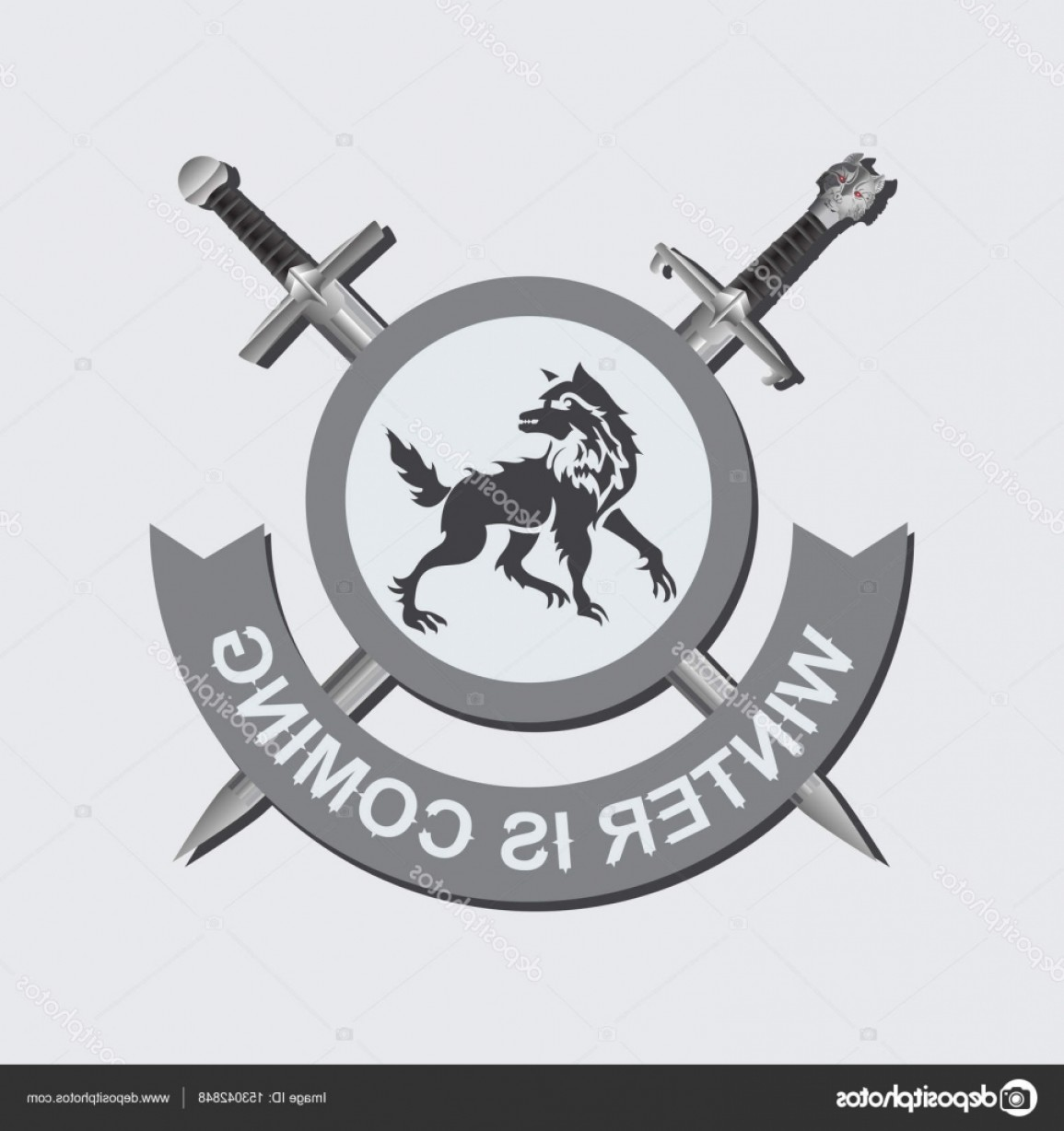 Game Of Thrones Sword Silhouette Vector: Stock Illustration Crossed Swords A Shield With
