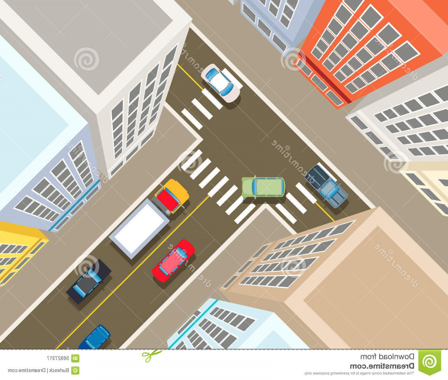 City Building Vector Free Download: Stock Illustration Crossroads City Top View Transport Car Urban Asphalt Traffic Building Vector Illustration Image