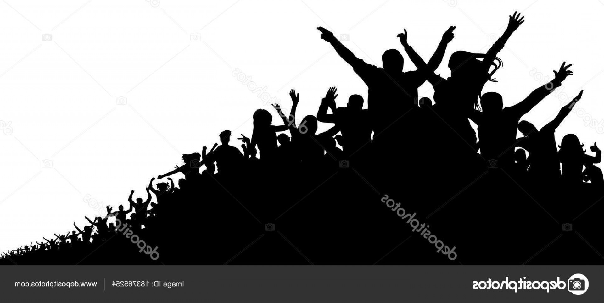 Vector Sports Crowd Cheering: Stock Illustration Crowd Of People Vector Silhouette