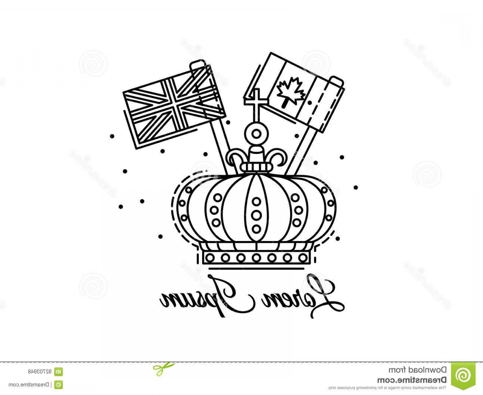 Crown White Outline Vector: Stock Illustration Crown Outline Flags Canada Uk Black White Vector Logo Illustration Can Be Used Colouring Book Image