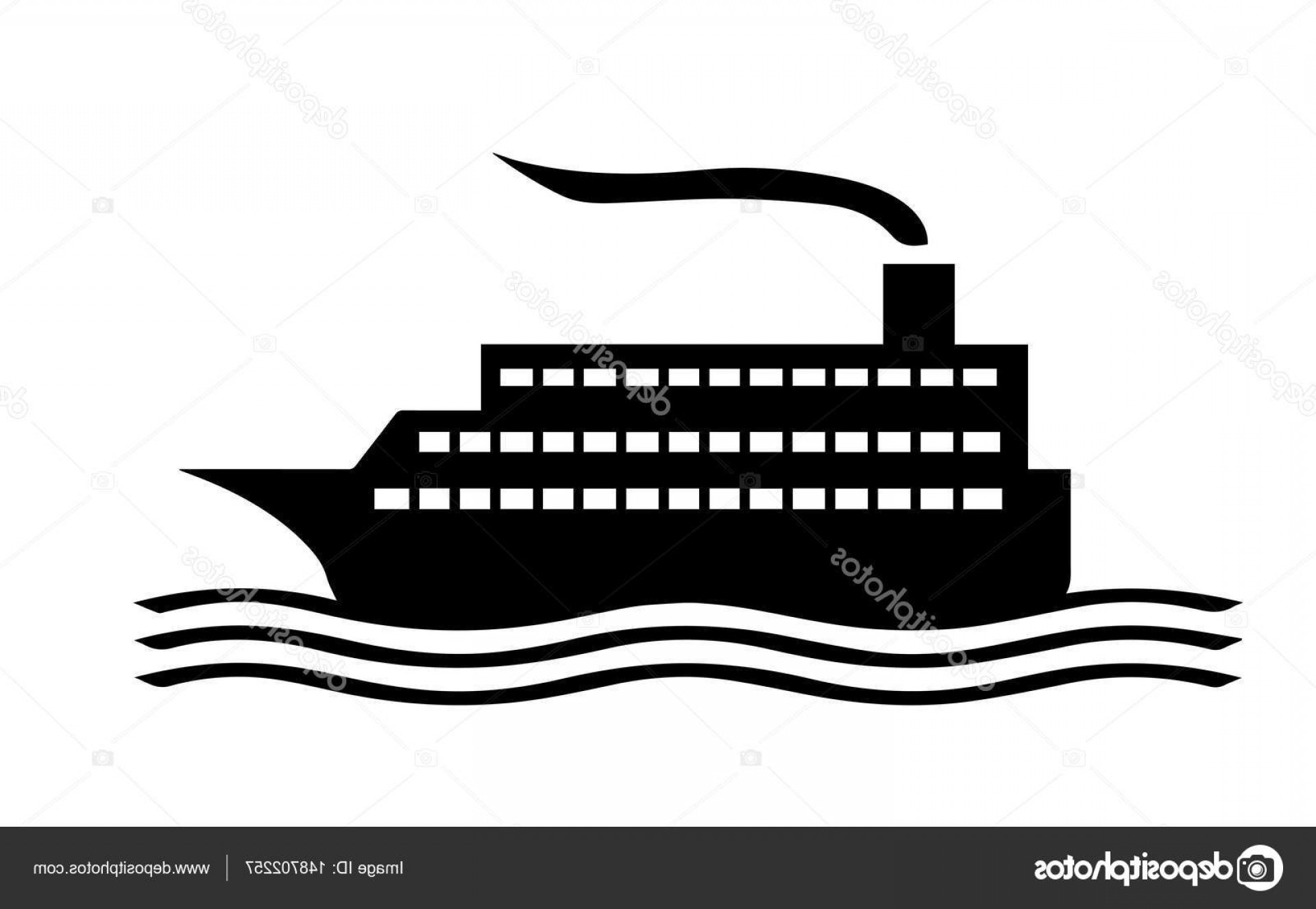 Waves With Cruise Ship Silhouette Vector: Stock Illustration Cruise Ship Silhouette Vector
