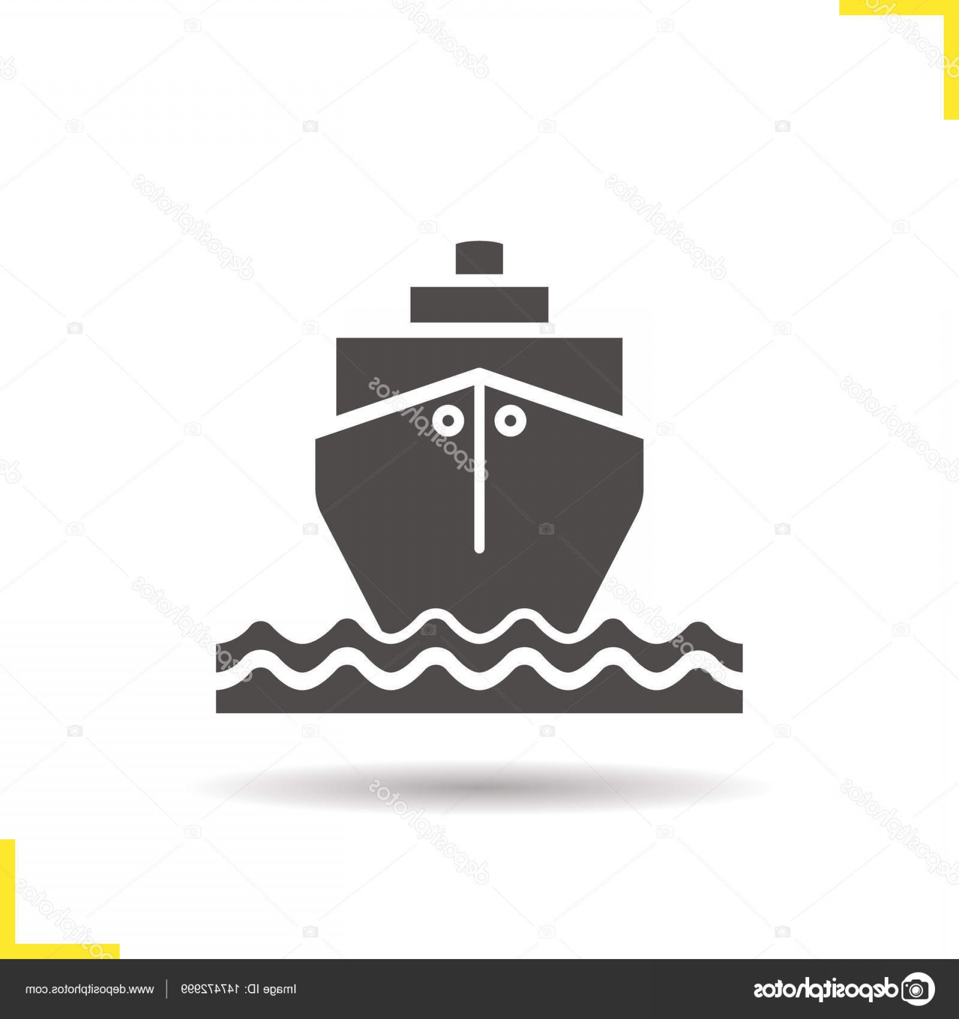 Waves With Cruise Ship Silhouette Vector: Stock Illustration Cruise Ship With Waves Icon