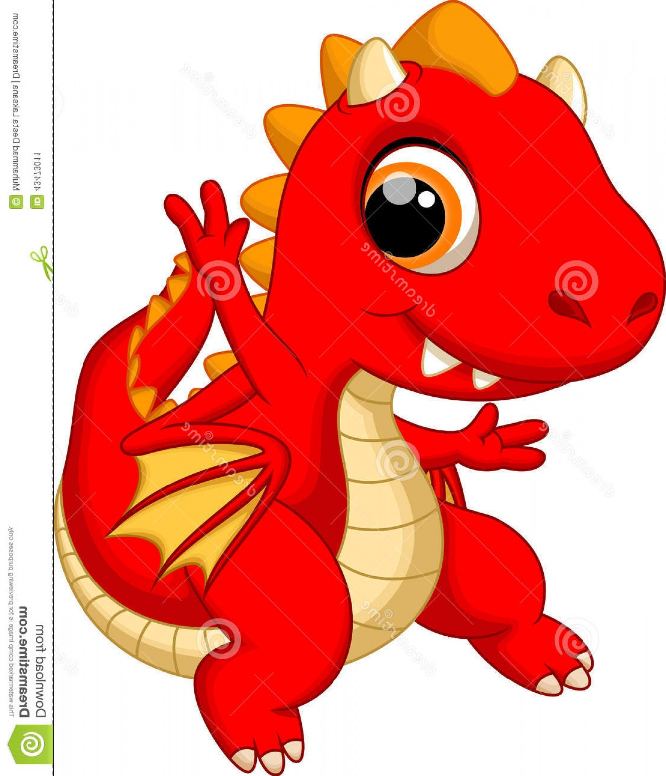 Baby Dragon Silhouette Vector: Stock Illustration Cute Baby Dragon Cartoon White Background Image