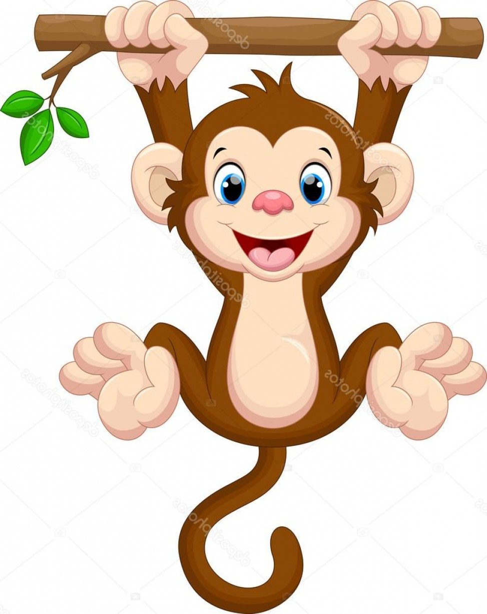 Sitting Monkey Vector Baby Shower: Stock Illustration Cute Baby Monkey Hanging On