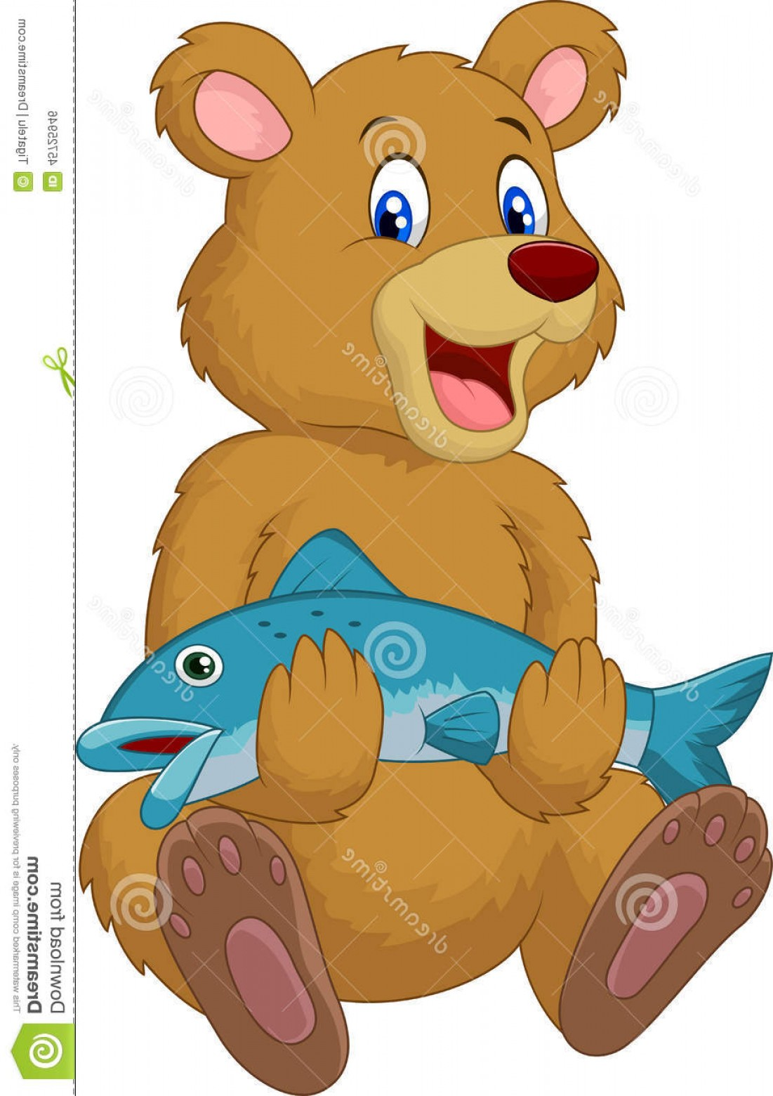 Vector Art Bear With Salmon: Stock Illustration Cute Bear Holding Salmon Fish Illustration Image
