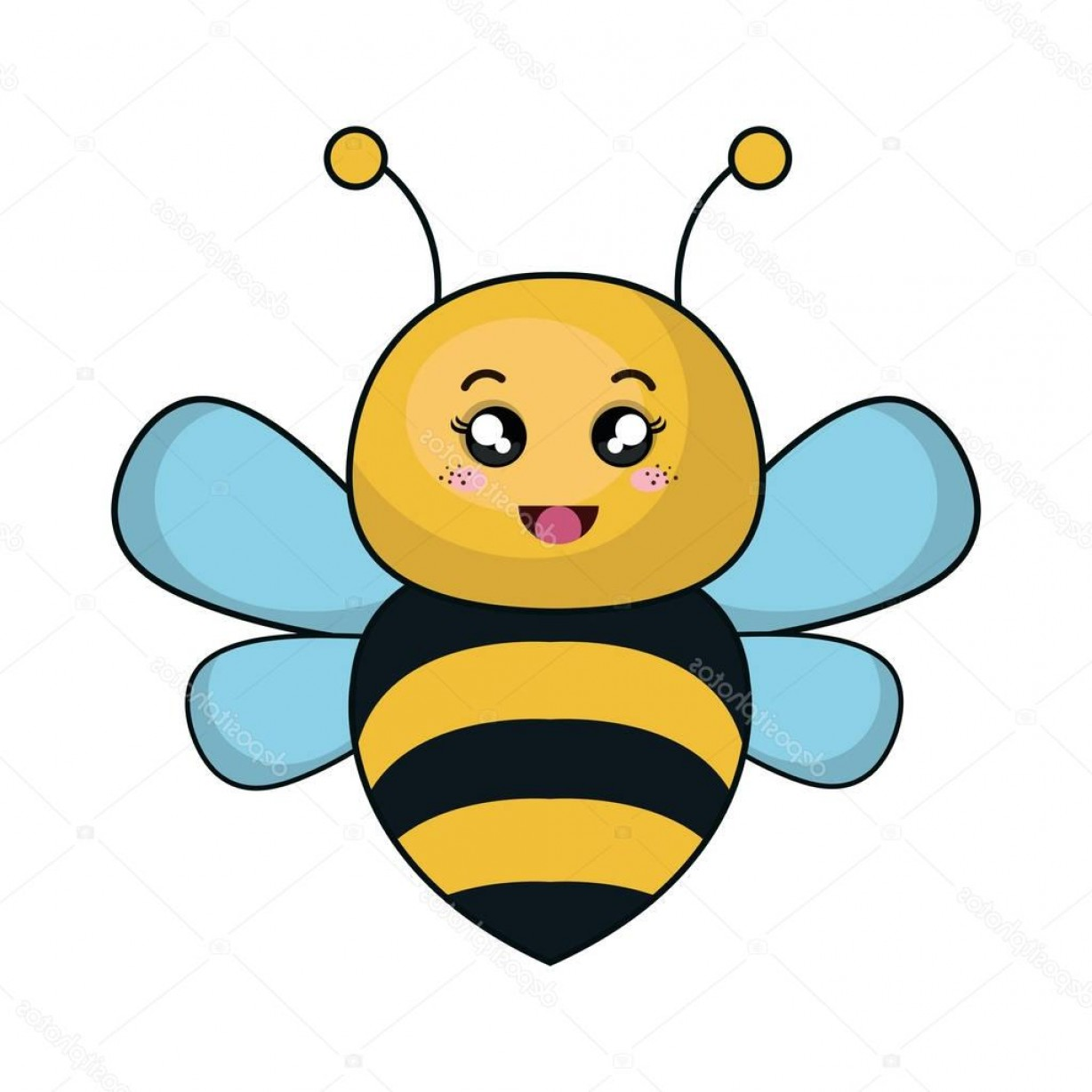 Kawaii Bug Vector: Stock Illustration Cute Bee Animal Kawaii Style