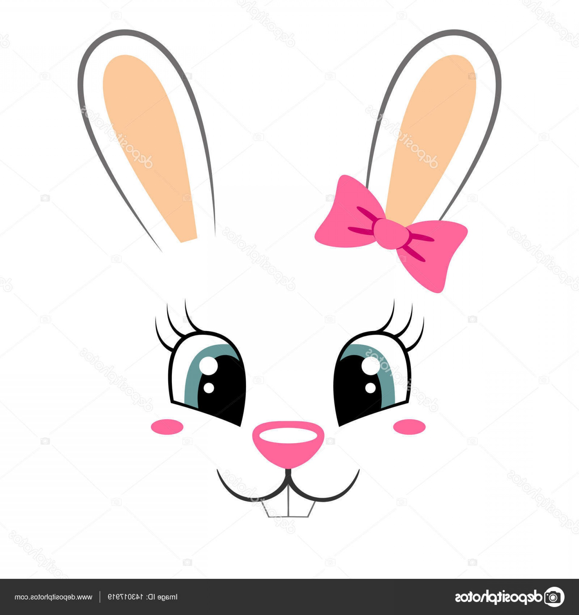 Vector Easter Rabbit Face: Stock Illustration Cute Bunny With Pink Bow