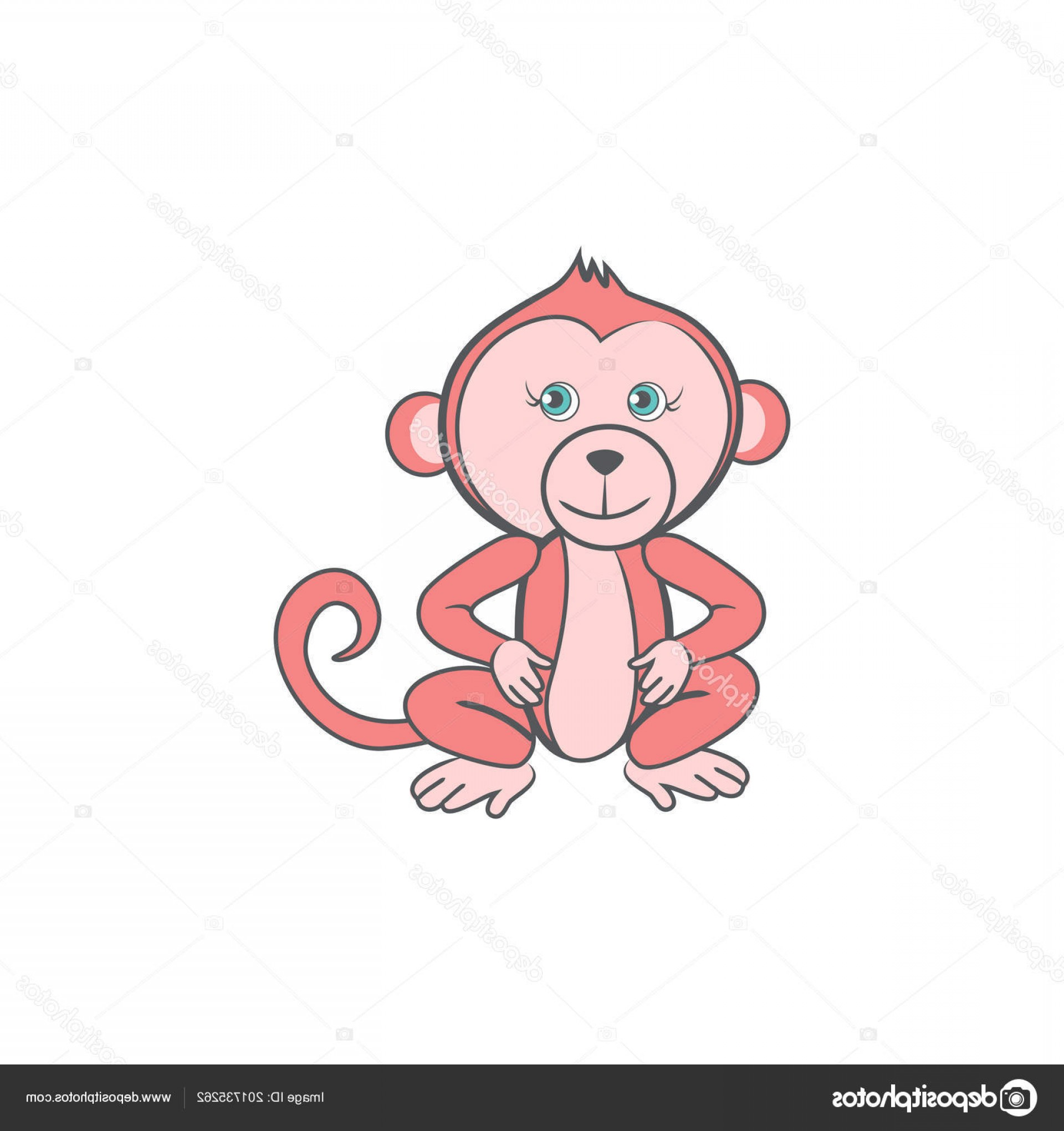 Sitting Monkey Vector Baby Shower: Stock Illustration Cute Cartoon Pink Monkey Wild