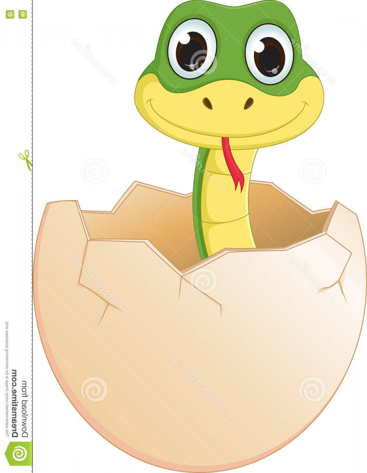 Cute But Deadly Vector: Stock Illustration Cute Cartoon Snake Hatching Vector Illustration Isolated White Image