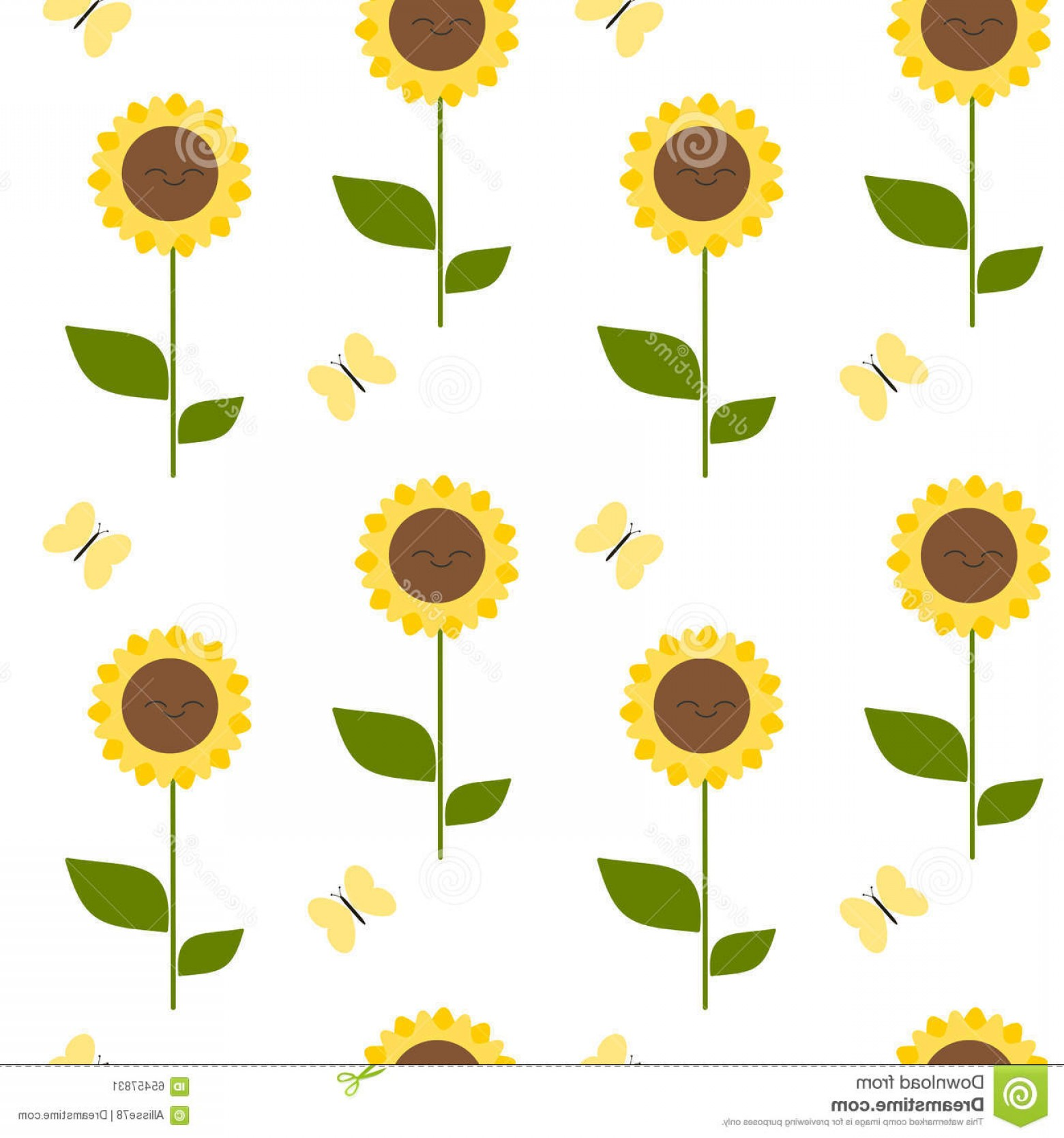Sunflower Vector Pattern: Stock Illustration Cute Cartoon Sunflower Seamless Pattern Background Illustration Vector Image