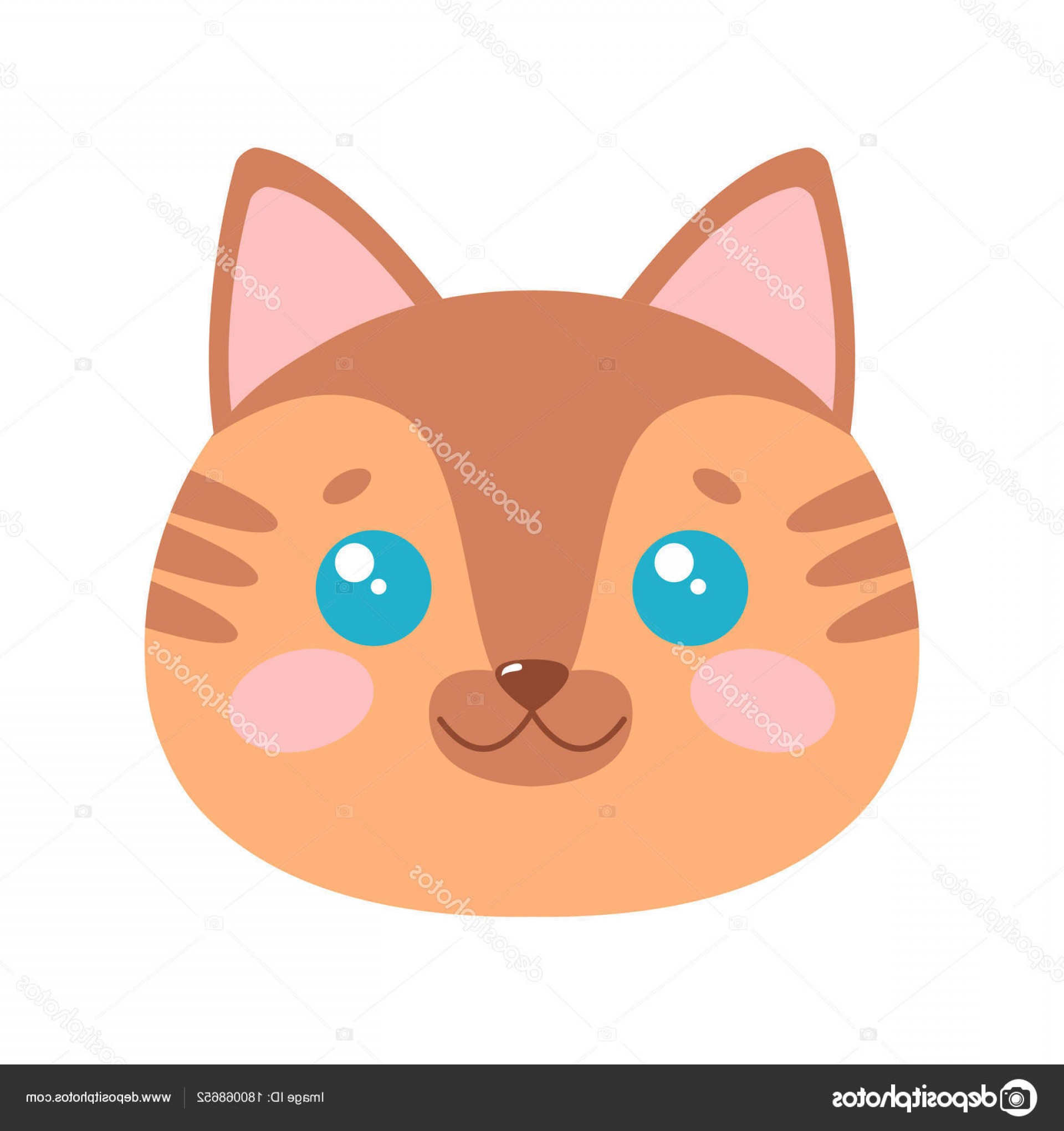 Malee Cat Head Silhouette Vector: Stock Illustration Cute Cat Face Vector Illustration