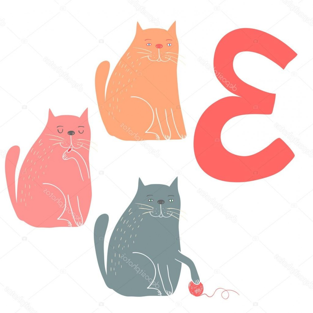 Vector Cats 3: Stock Illustration Cute Cats Easy Learn