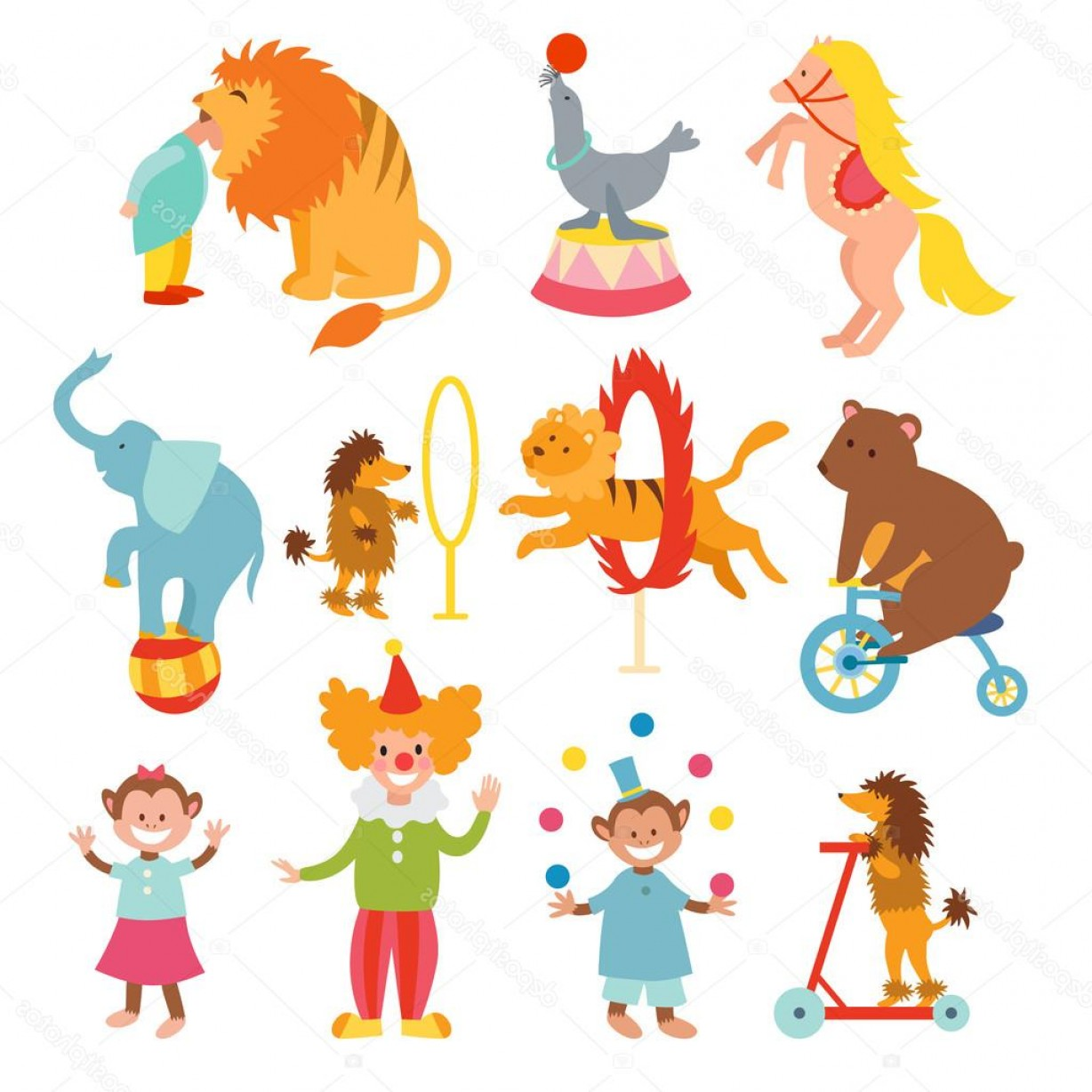 Circus Animals Vector Graphic: Stock Illustration Cute Circus Animals And Funny