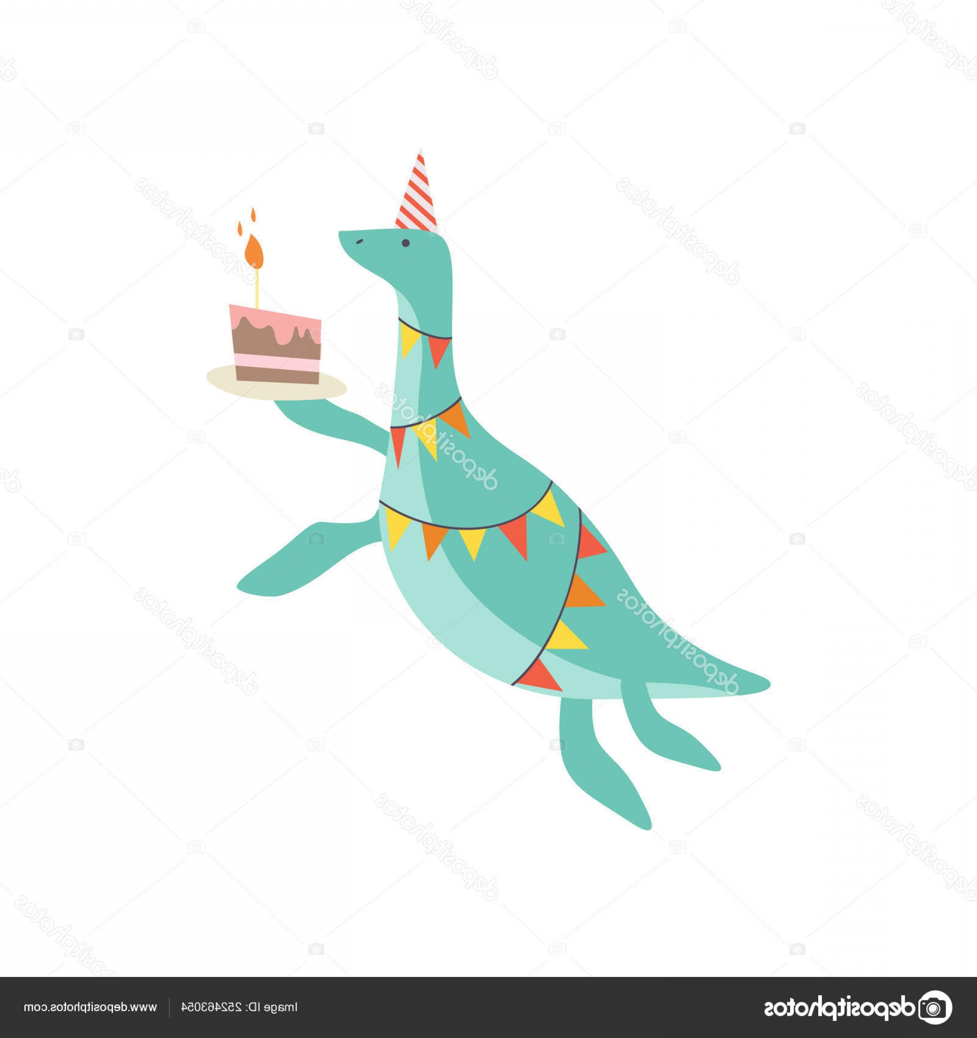 Teal Birthday Hat Vector: Stock Illustration Cute Dinosaur In Party Hat
