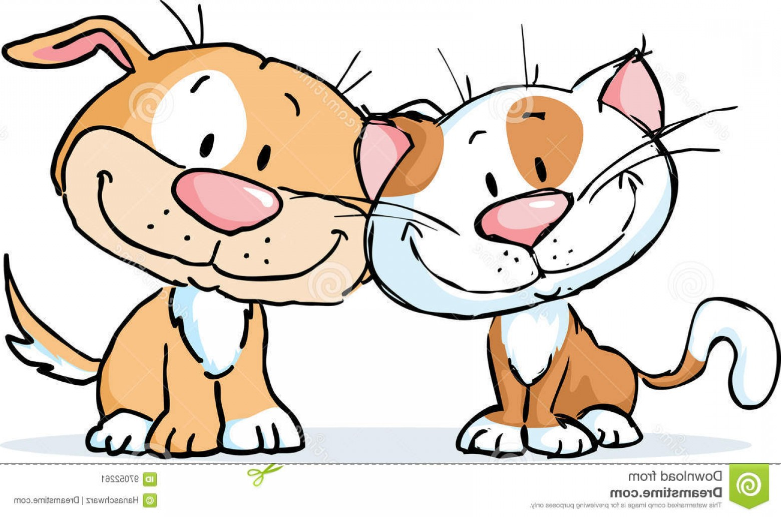 Dog And Cat Vector Illustration: Stock Illustration Cute Dog Cat Vector Illustration Cartoon Isolated White Image