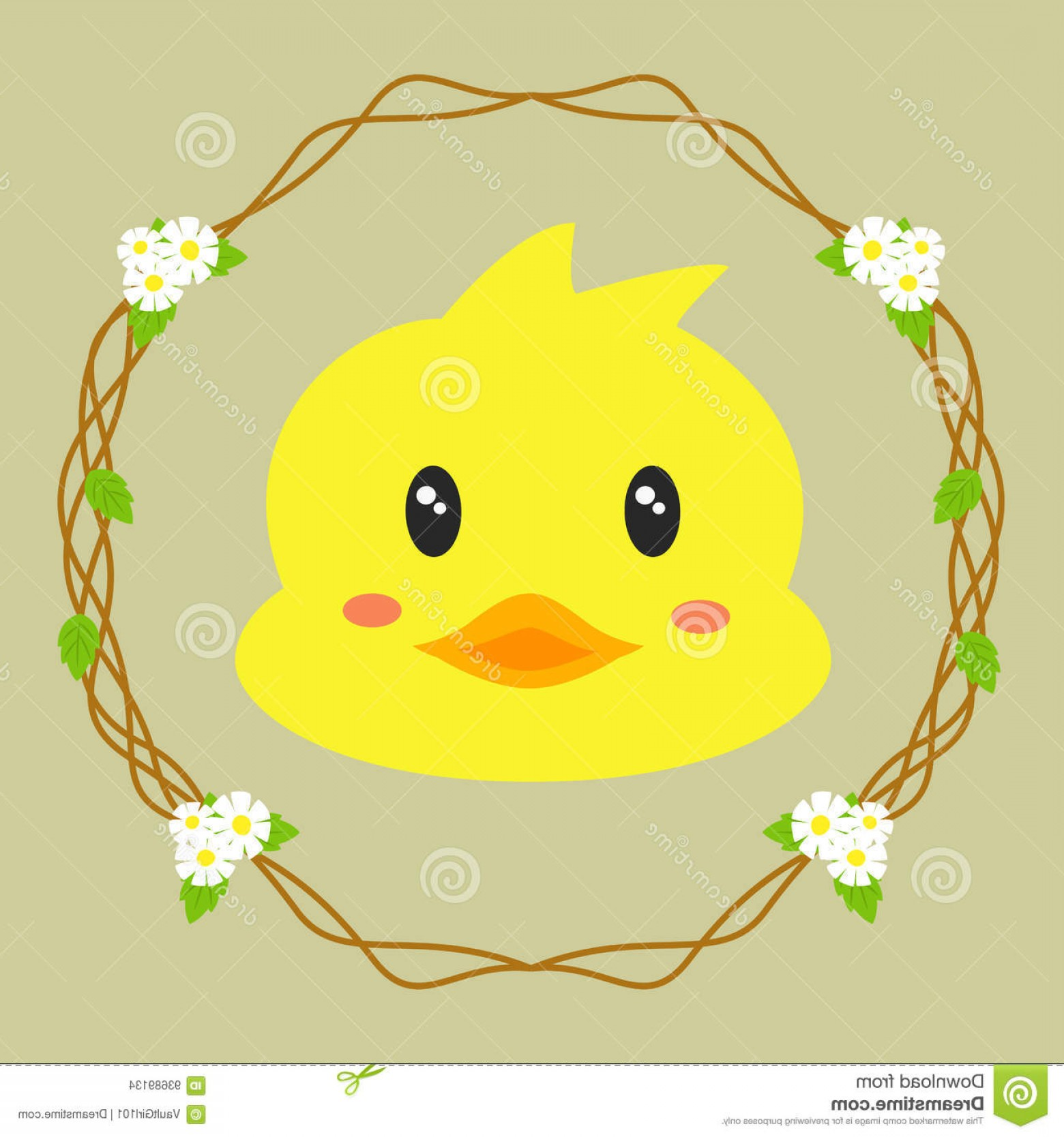 Cartoon Duck Vector: Stock Illustration Cute Duck Vector Floral Wreath Background Image