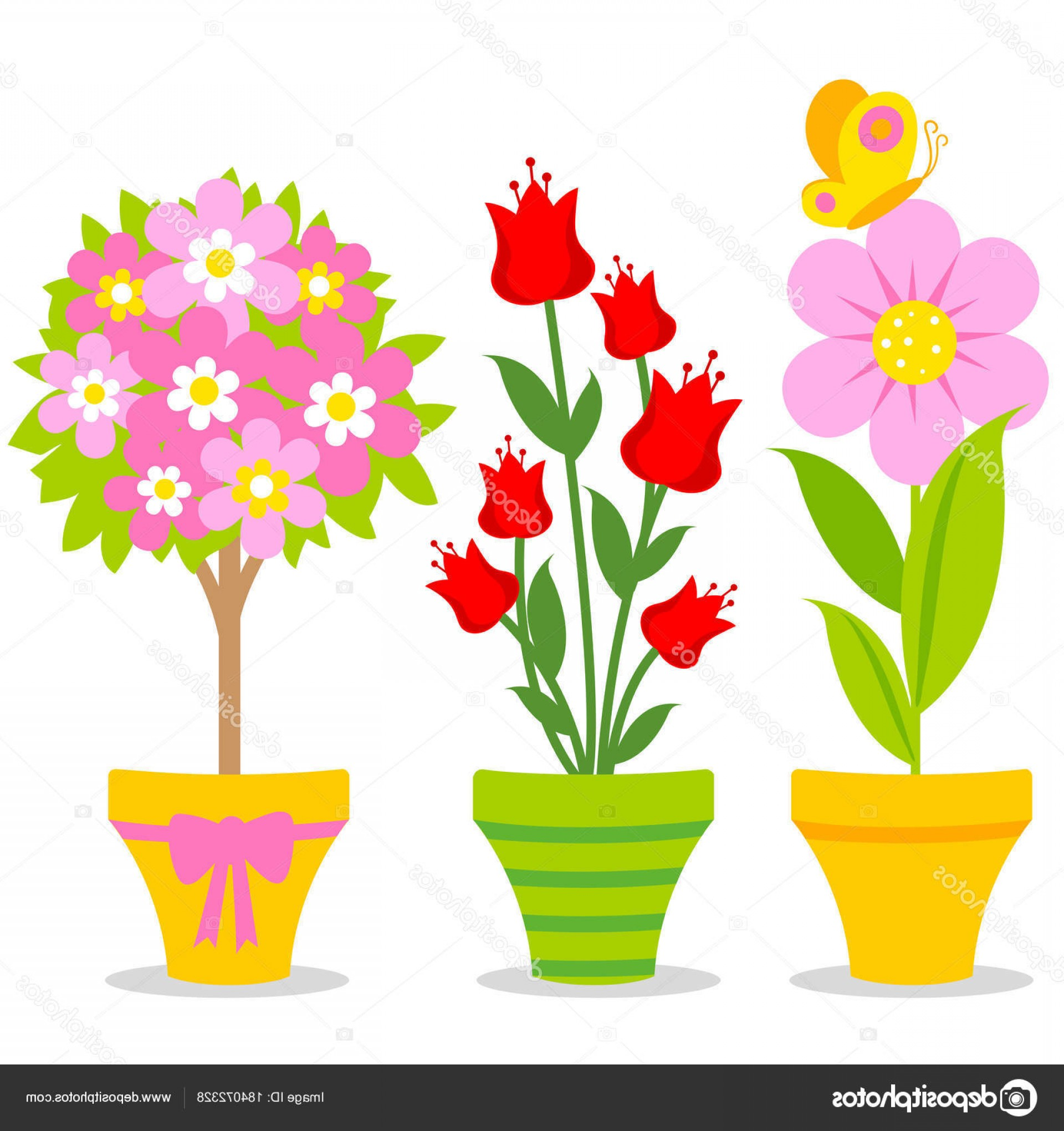 Flower Pot Vector Graphics: Stock Illustration Cute Flowers On Pots