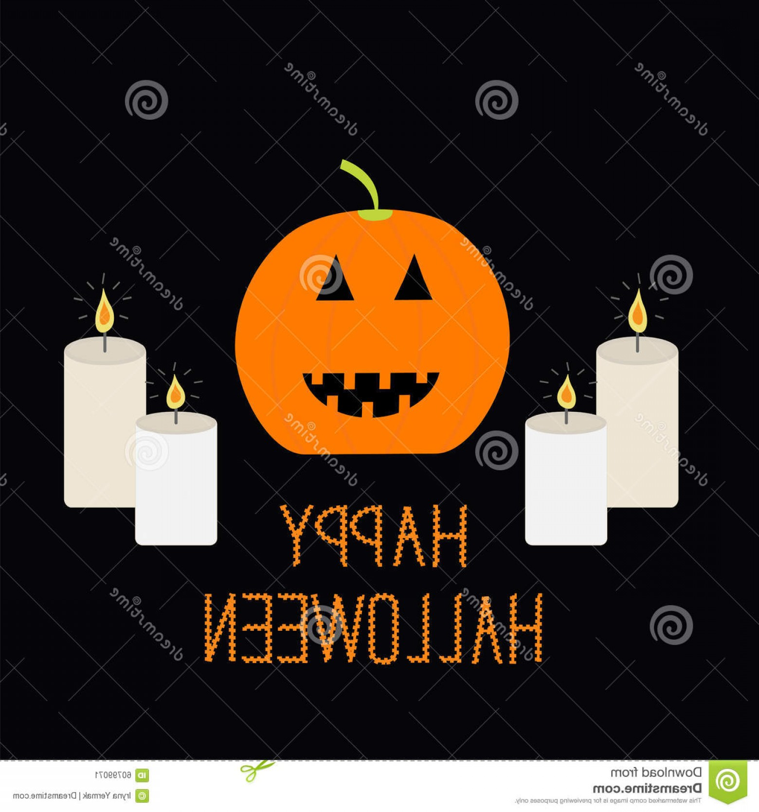 Stock Illustration Cute Funny Pumpkin Candle Light Halloween Card Kids