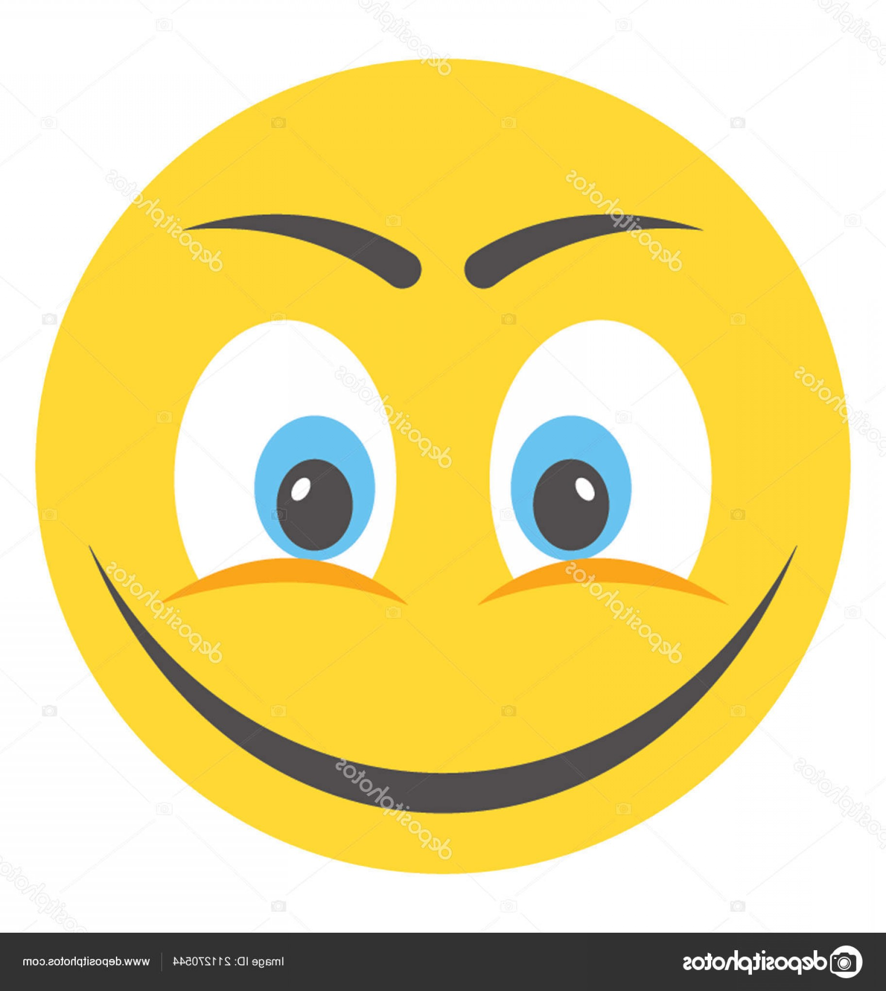 Excited Face Emoji Vector: Stock Illustration Cute Happy Face Emoji