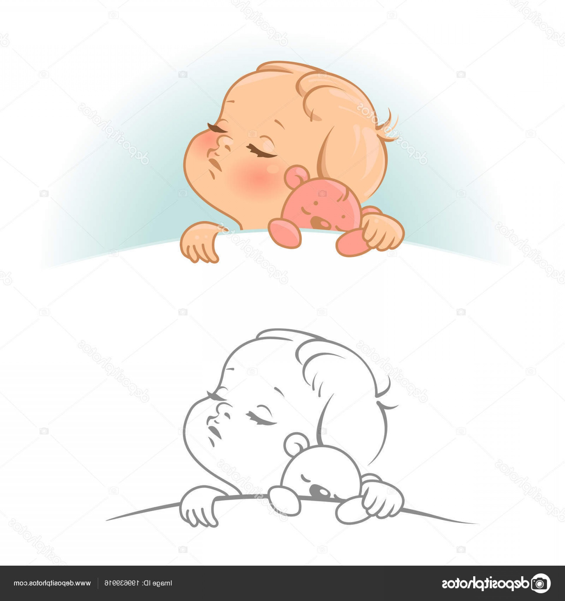 Sleeping Baby Vector: Stock Illustration Cute Little Sleeping Baby Baby