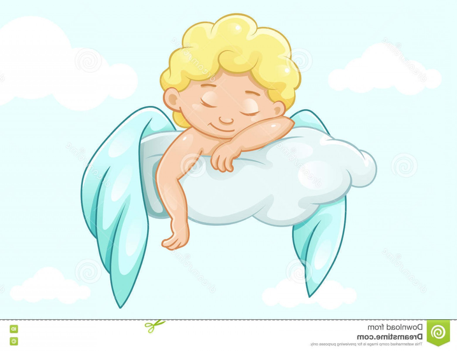 Little Angel Vector: Stock Illustration Cute Sleeping Little Angel Vector Illustration Image