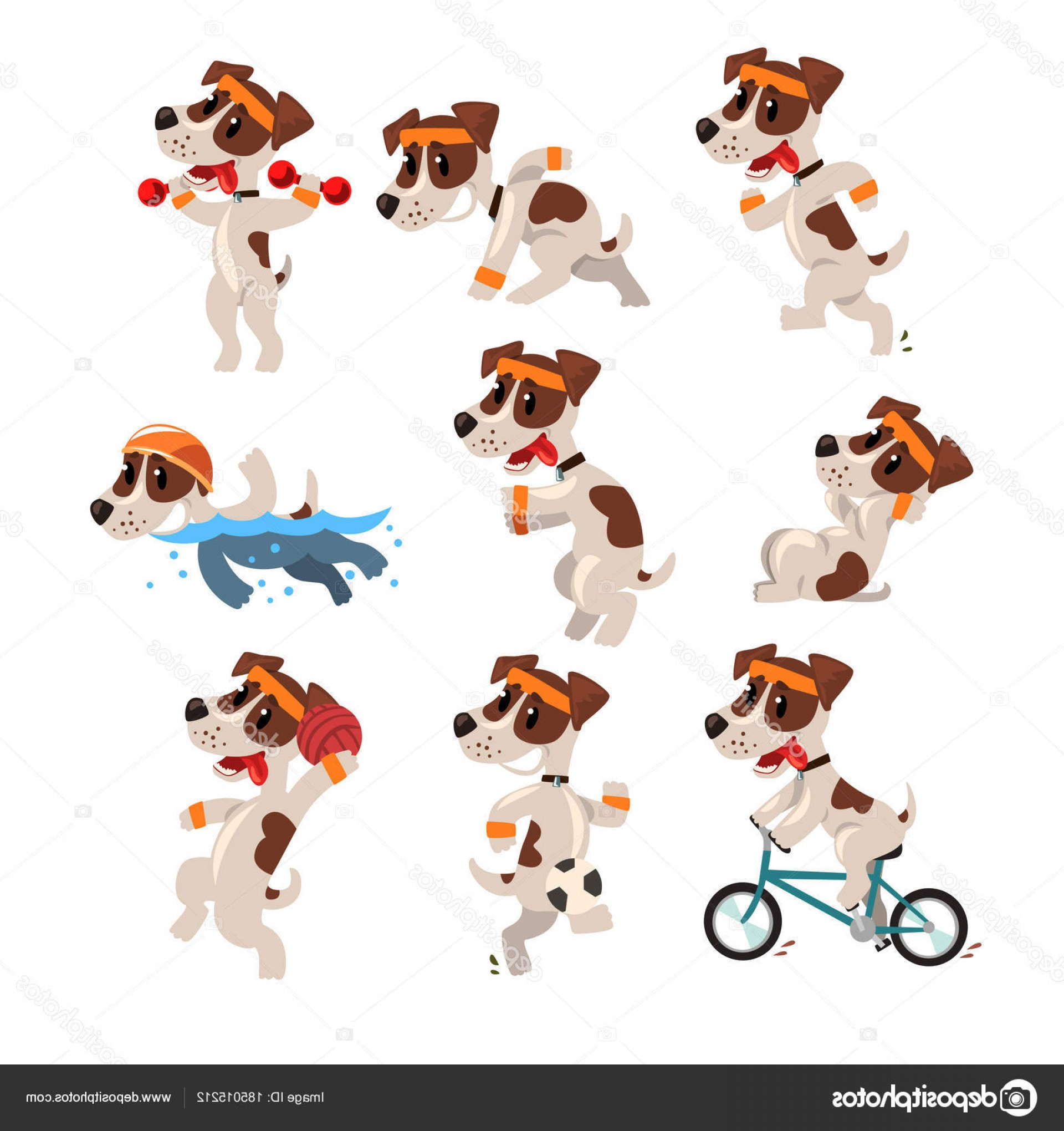Volleyball Vector Dog Lady: Stock Illustration Cute Sportive Jack Russell Terrier