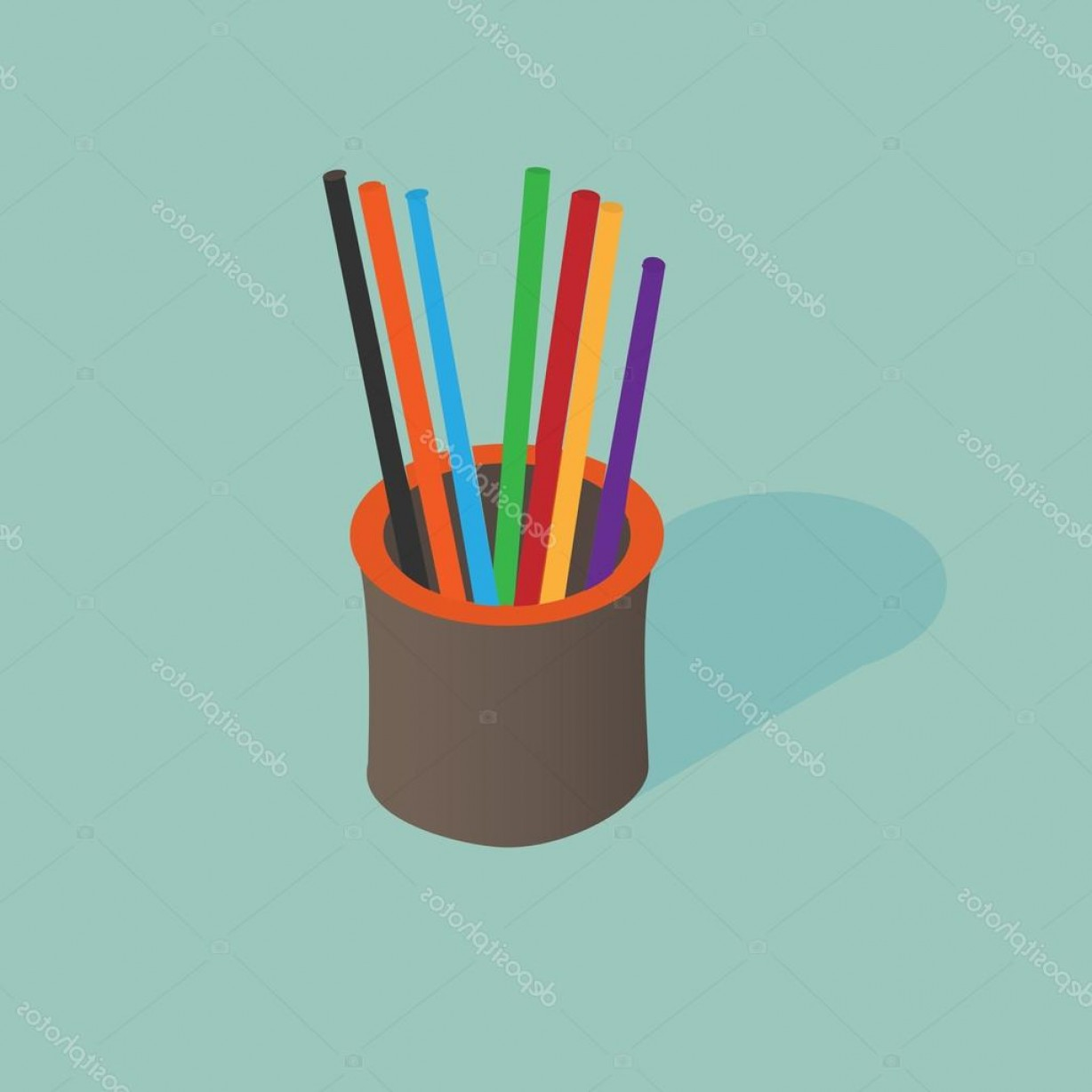 Vector Pencil Holder: Stock Illustration D Isometric Pencil Holder Vector