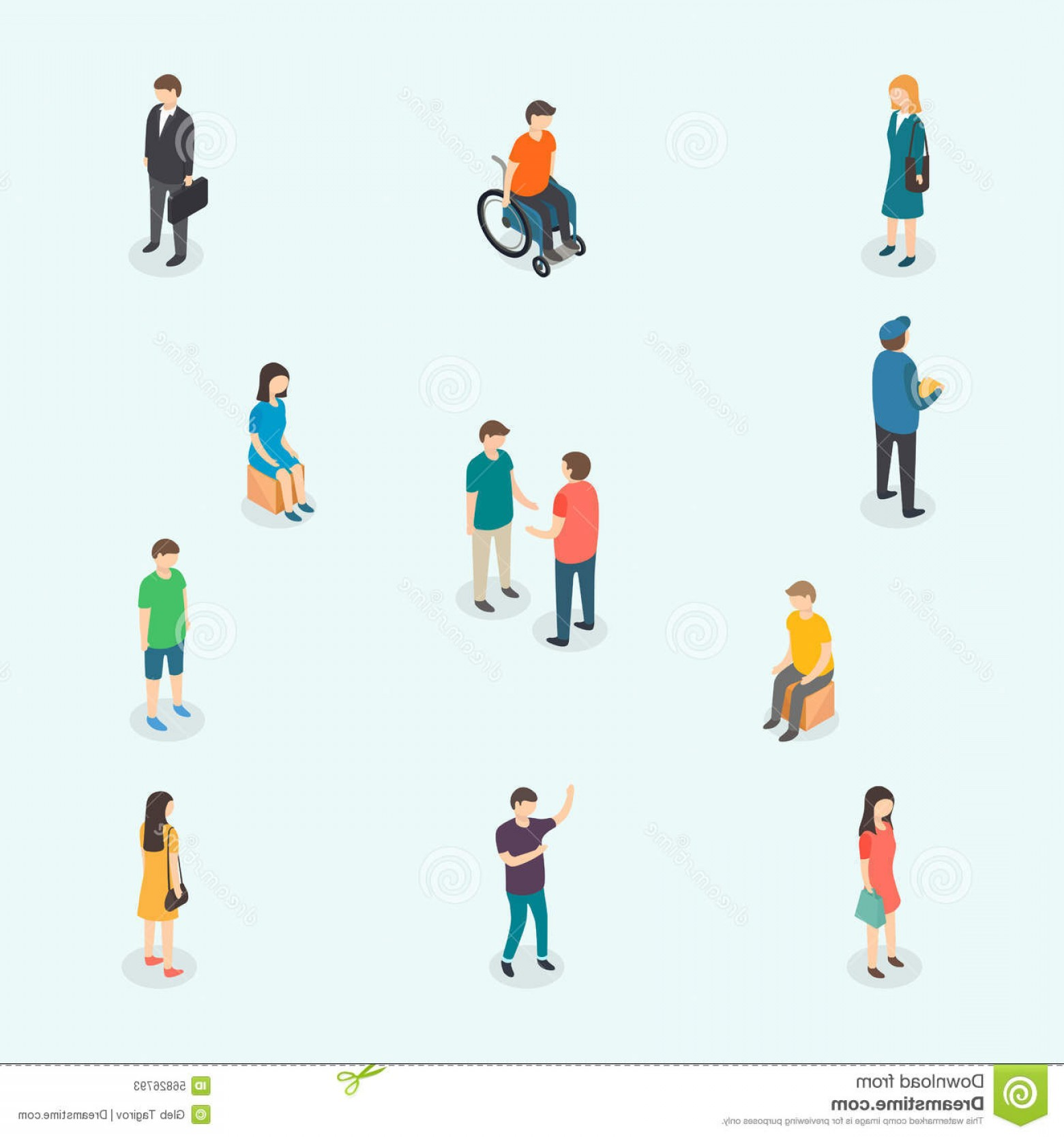 Vector People Man: Stock Illustration D Vector People Set Woman Man Isometric Graphics Eps Image