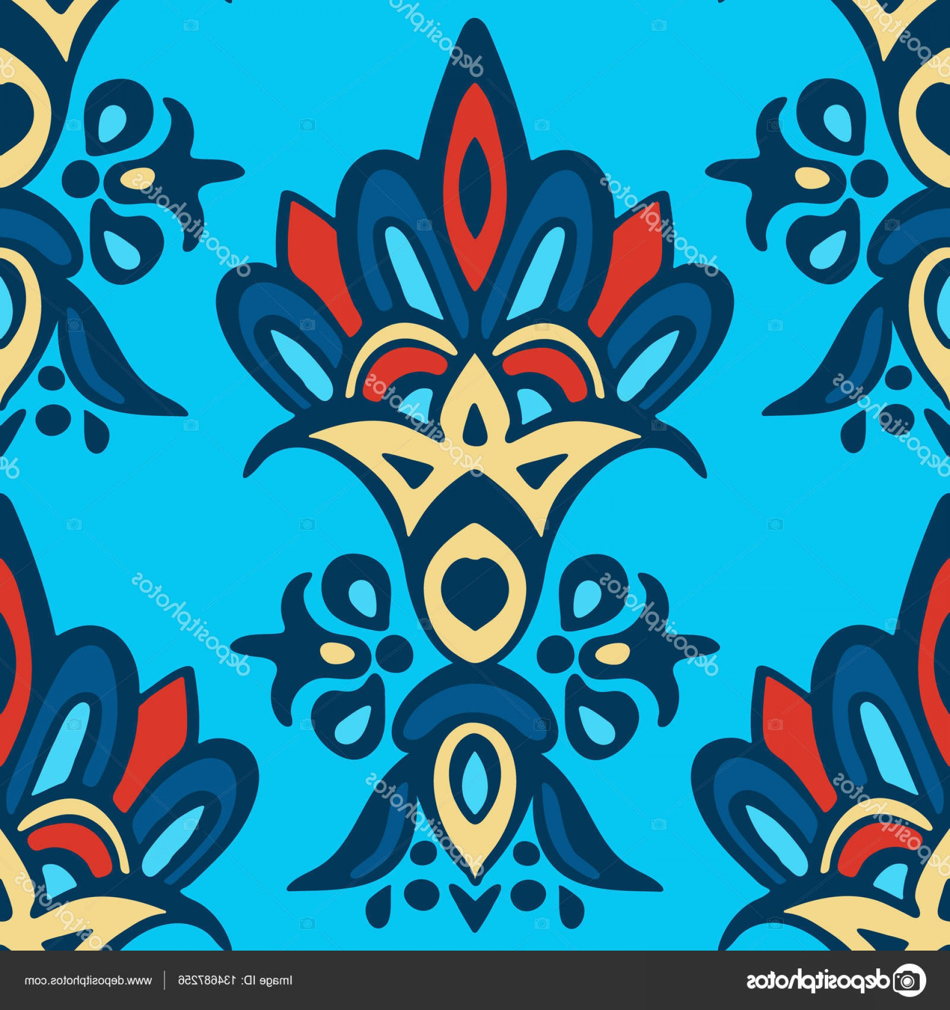 Aqua Victorian Medallions Vectors: Stock Illustration Damask Floral Medallion Vector Classic