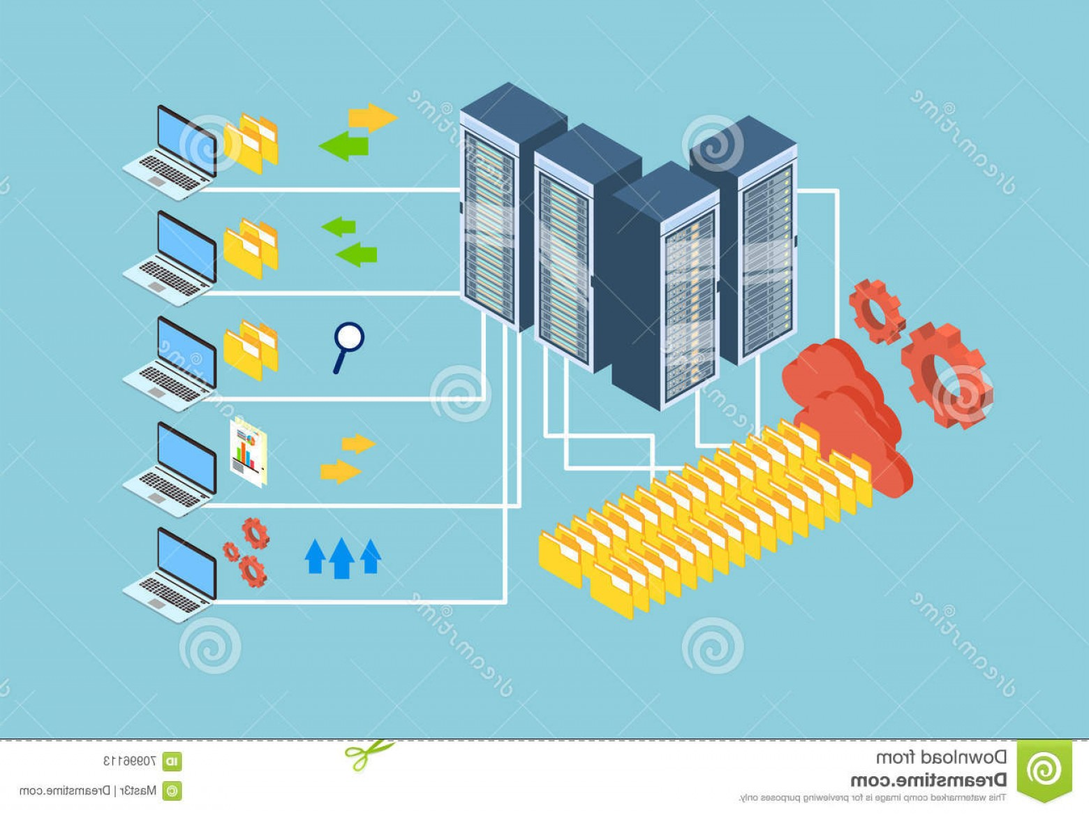 Vector Data Exchange: Stock Illustration Data Exchange Laptop Computer Database Cloud Storage D Isometric Design Vector Illustration Image