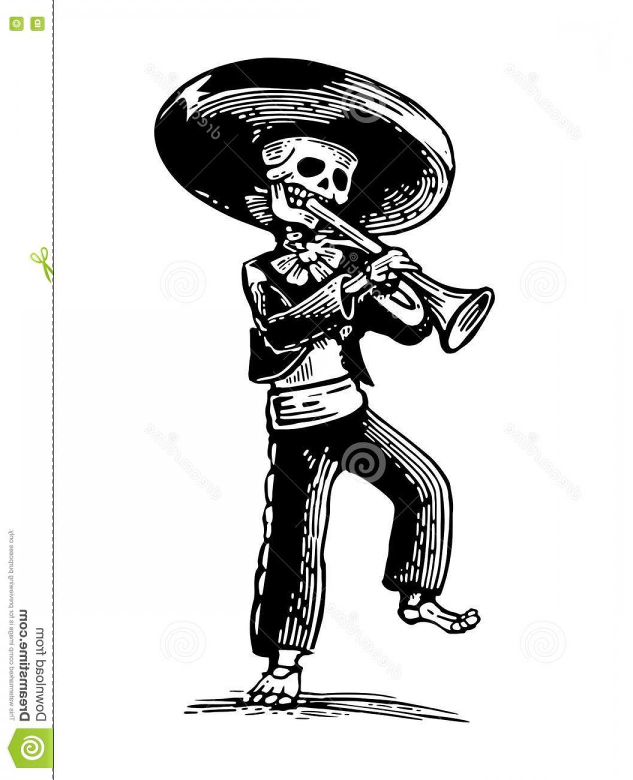 Vector Skeleton Circle Dancing: Stock Illustration Day Dead Dia De Los Muertos Skeleton Mexican National Costumes Dance Play Trumpet Vector Hand Drawn Image