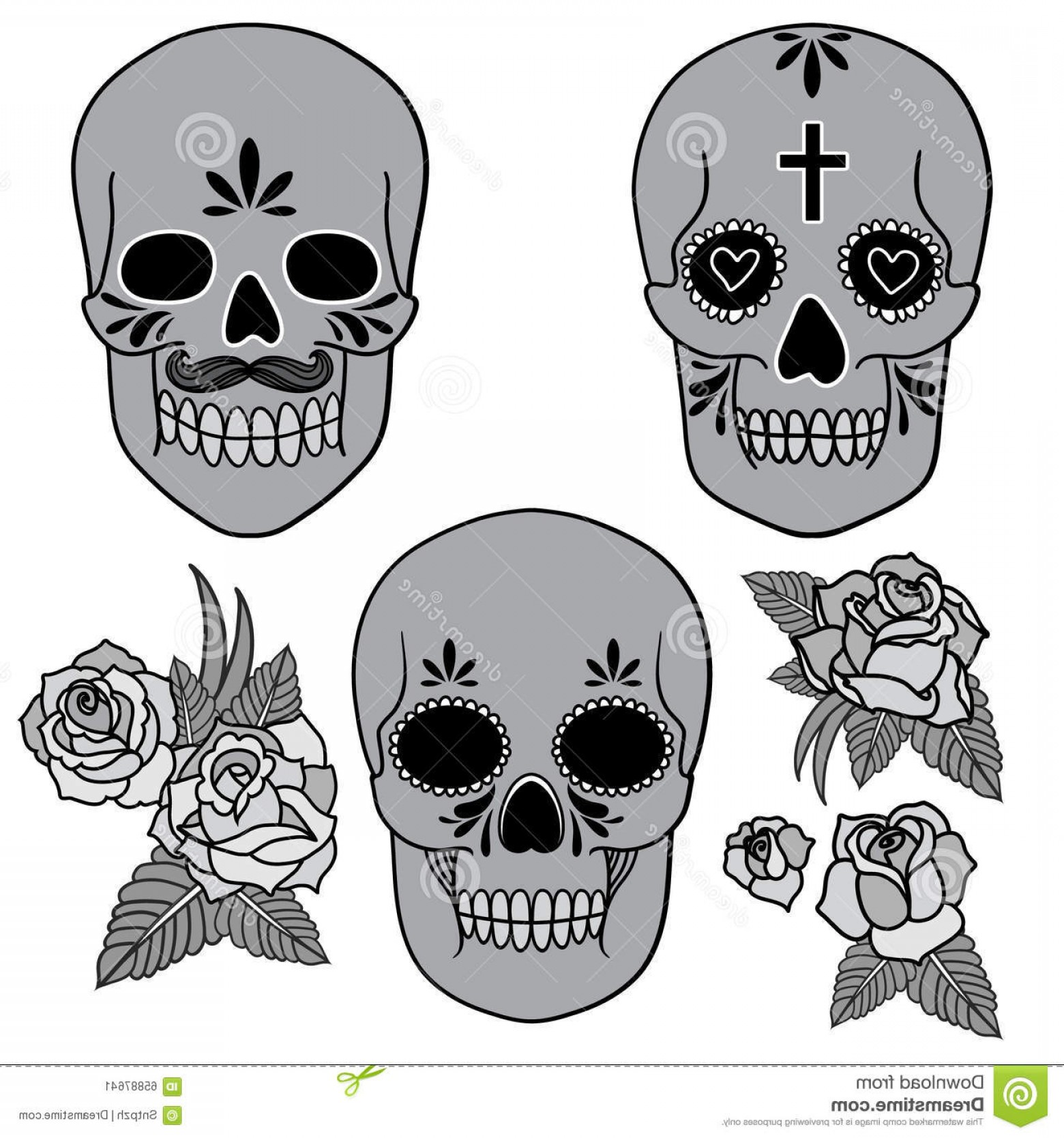 His And Hers Skulls Vector: Stock Illustration Day Dead Set Skulls Vector Illustration Image