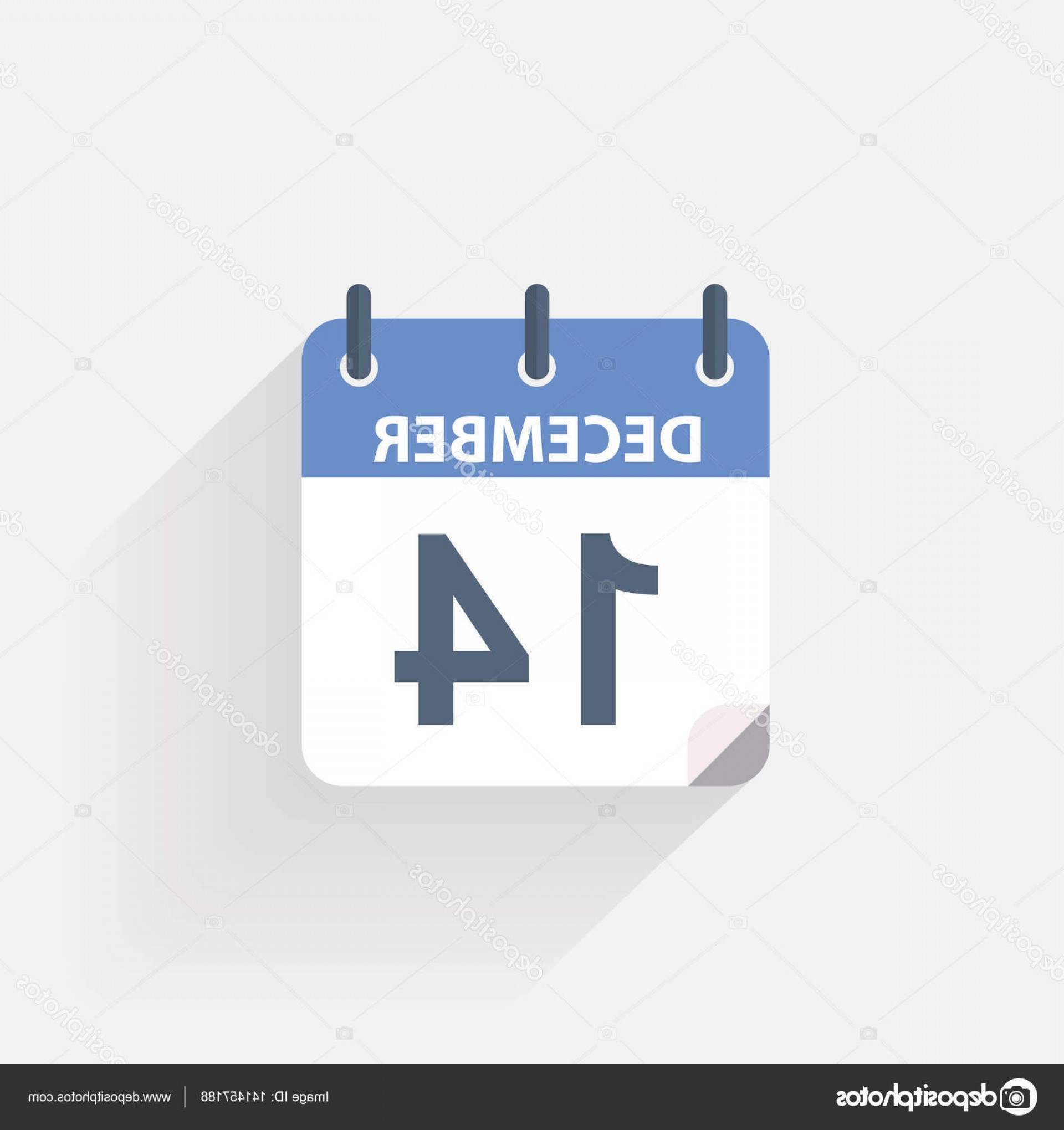 Vector Calendar Icon December 14th: Stock Illustration December Calendar Icon