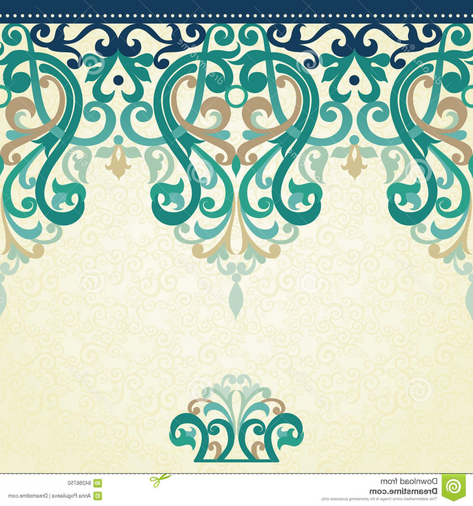 Aqua Victorian Vectors: Stock Illustration Decorative Vector Seamless Border Victorian Style Colorful Element Design Place Text Ornamental Lace Pattern Image