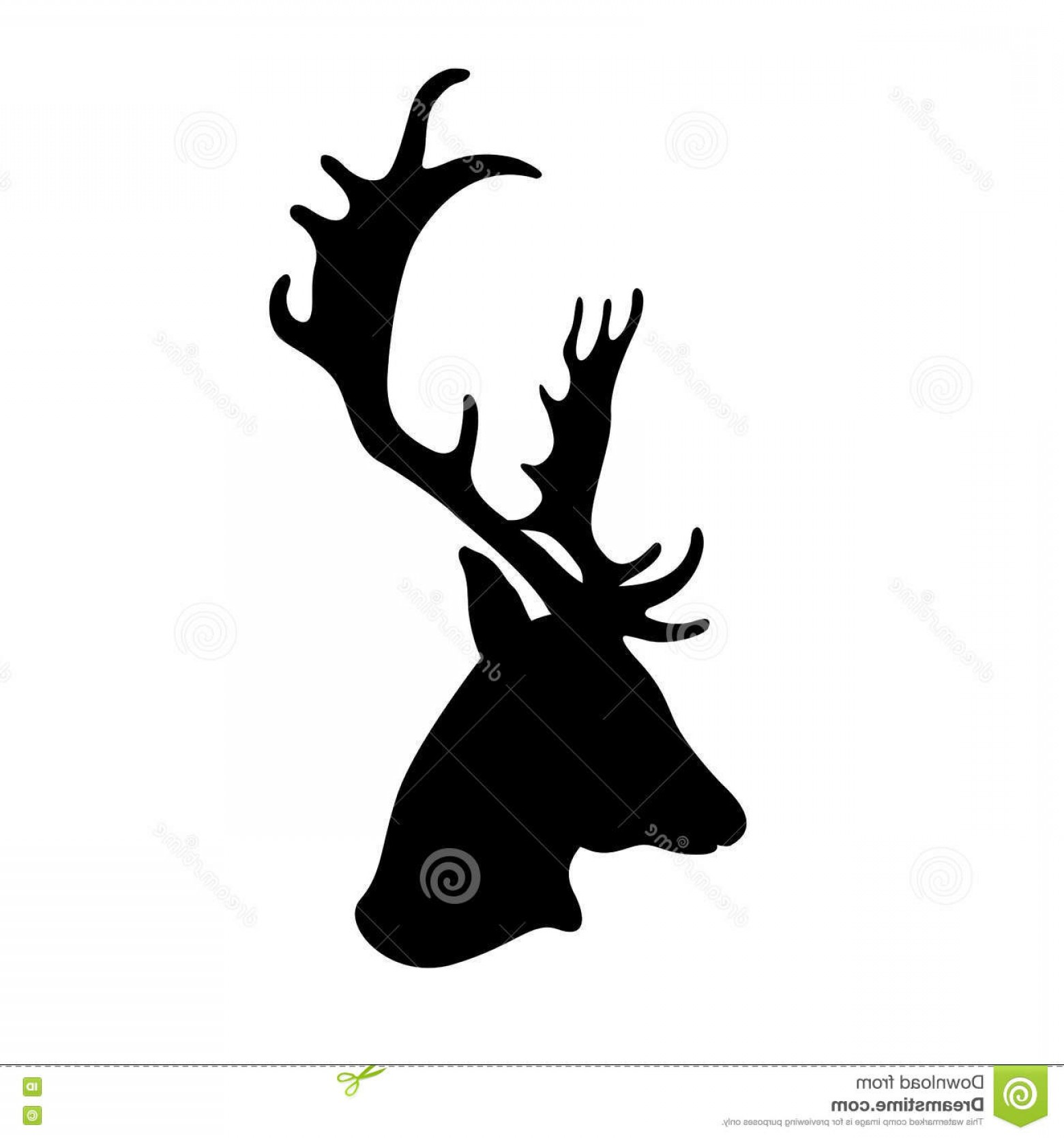 Black And White Holiday Deer Vector: Stock Illustration Deer Head Vector Black Silhouette Illustration Image