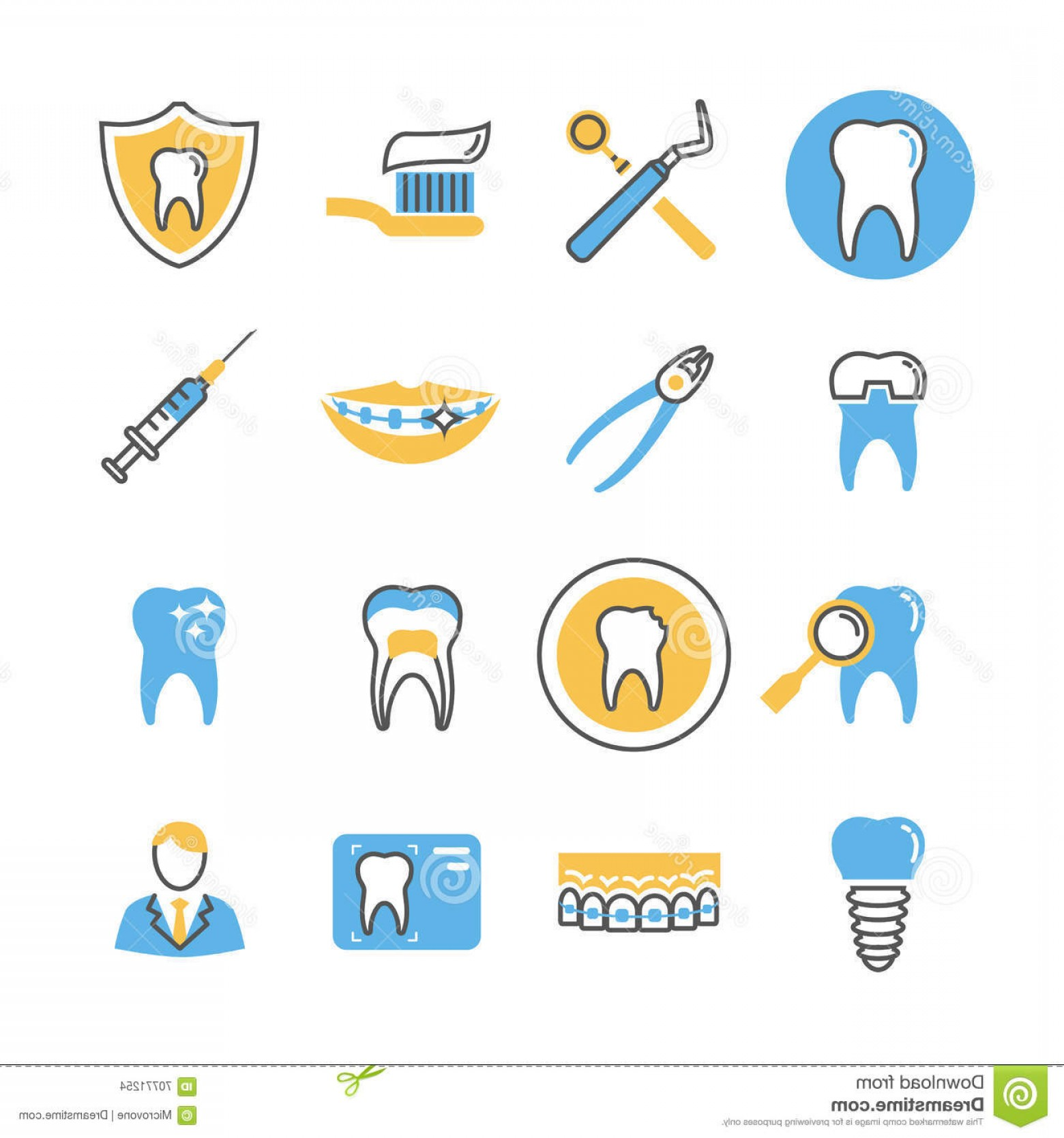 Vector Dental Equipment: Stock Illustration Dental Care Services Equipment Products Linear Vector Icons Color Elements Stomatology Icon Image