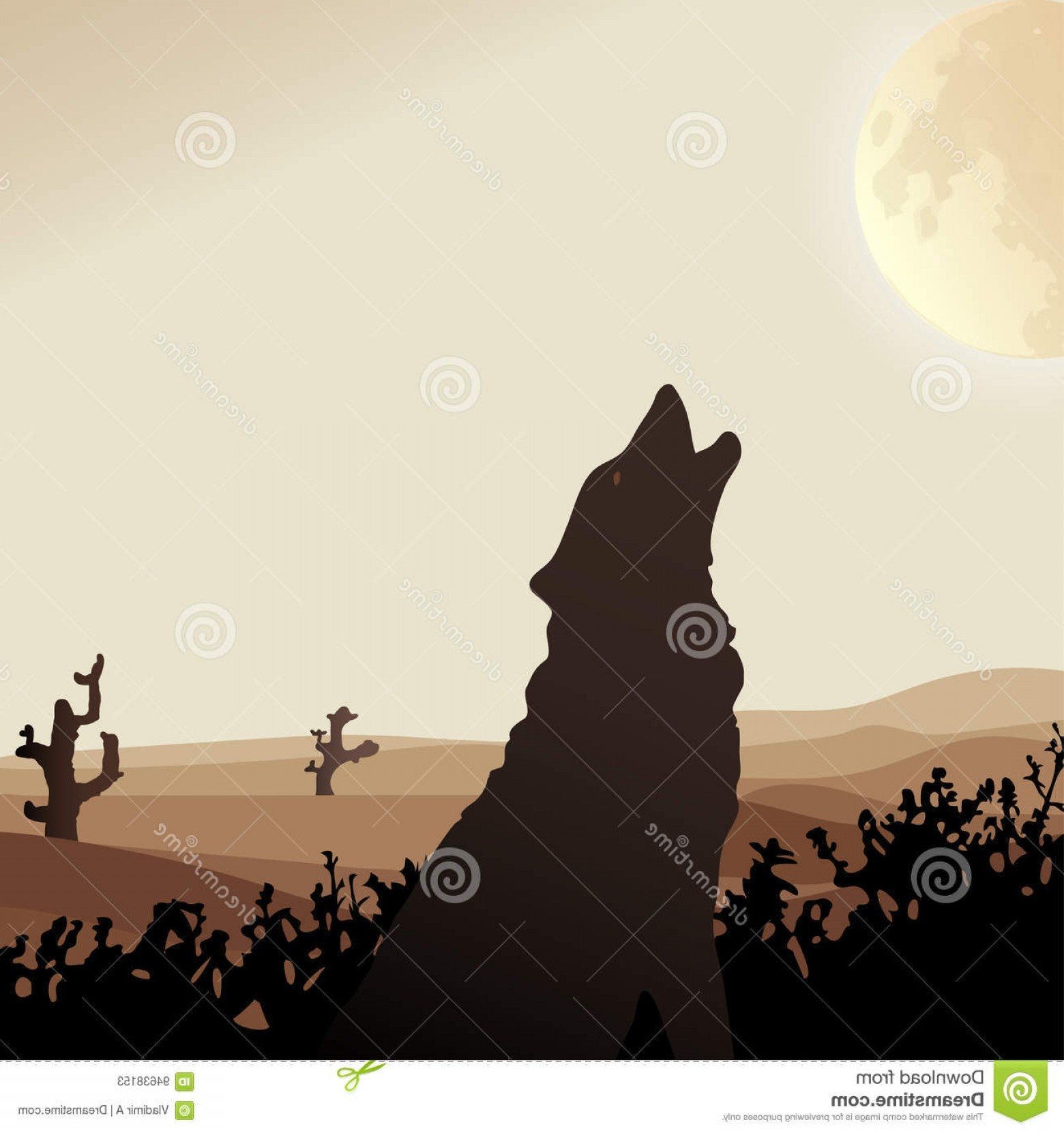 Sand Dune Silhouettes Vectors: Stock Illustration Desert Wolf Howls Moon Middle Sand Dunes Vector Silhouette Illustration Beige Tone Background Image