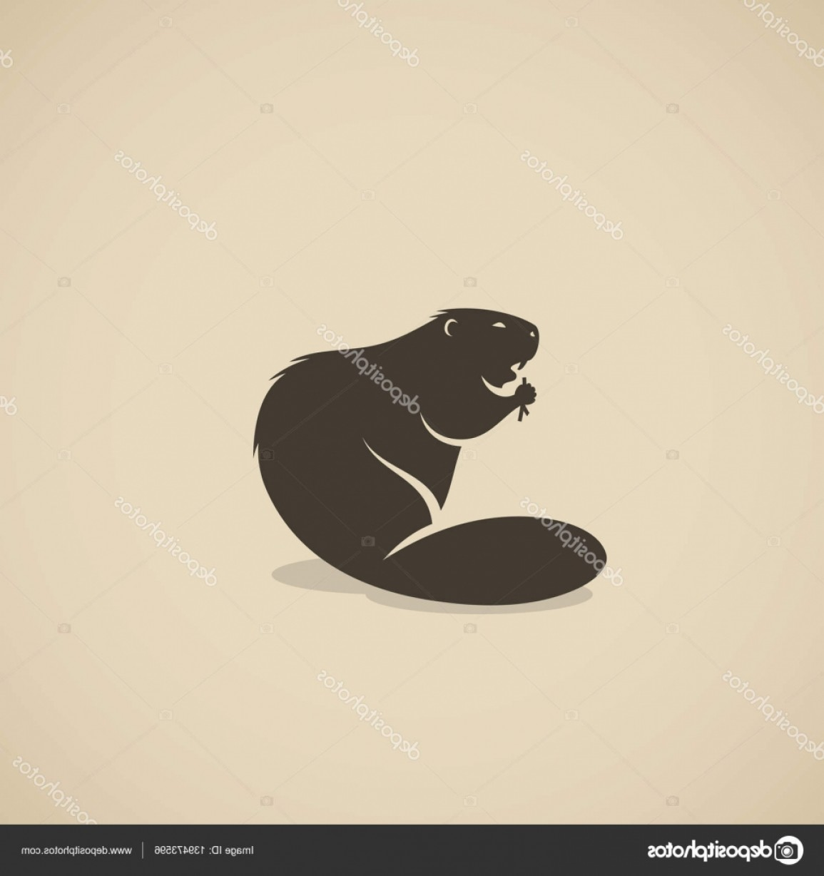 Vector Silhouette Beaver: Stock Illustration Design Of Beaver Logo
