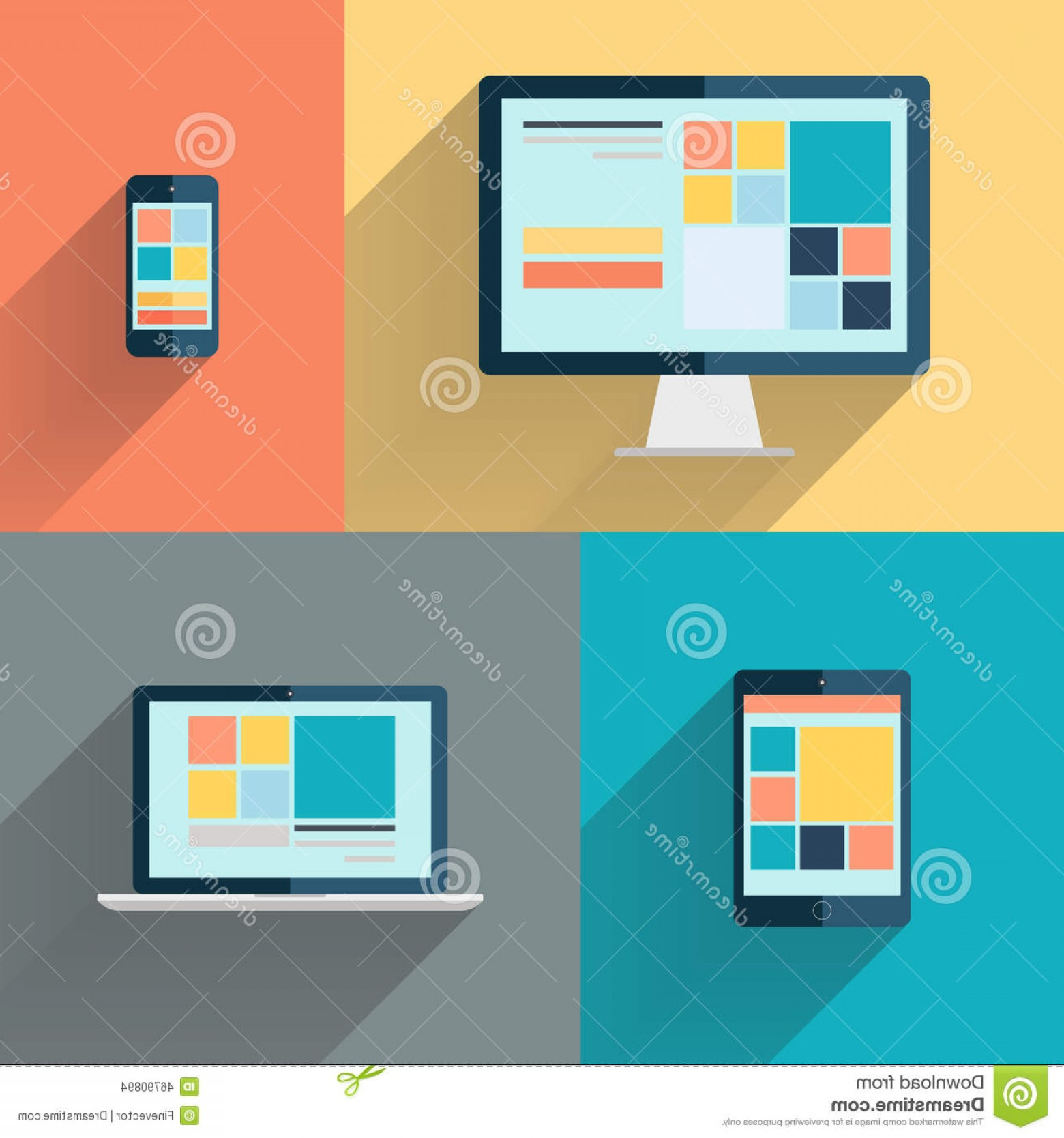 Computer Vector Icon Flat: Stock Illustration Desktop Computer Laptop Tablet Smart Phone Color Background Vector Illustration Flat Image