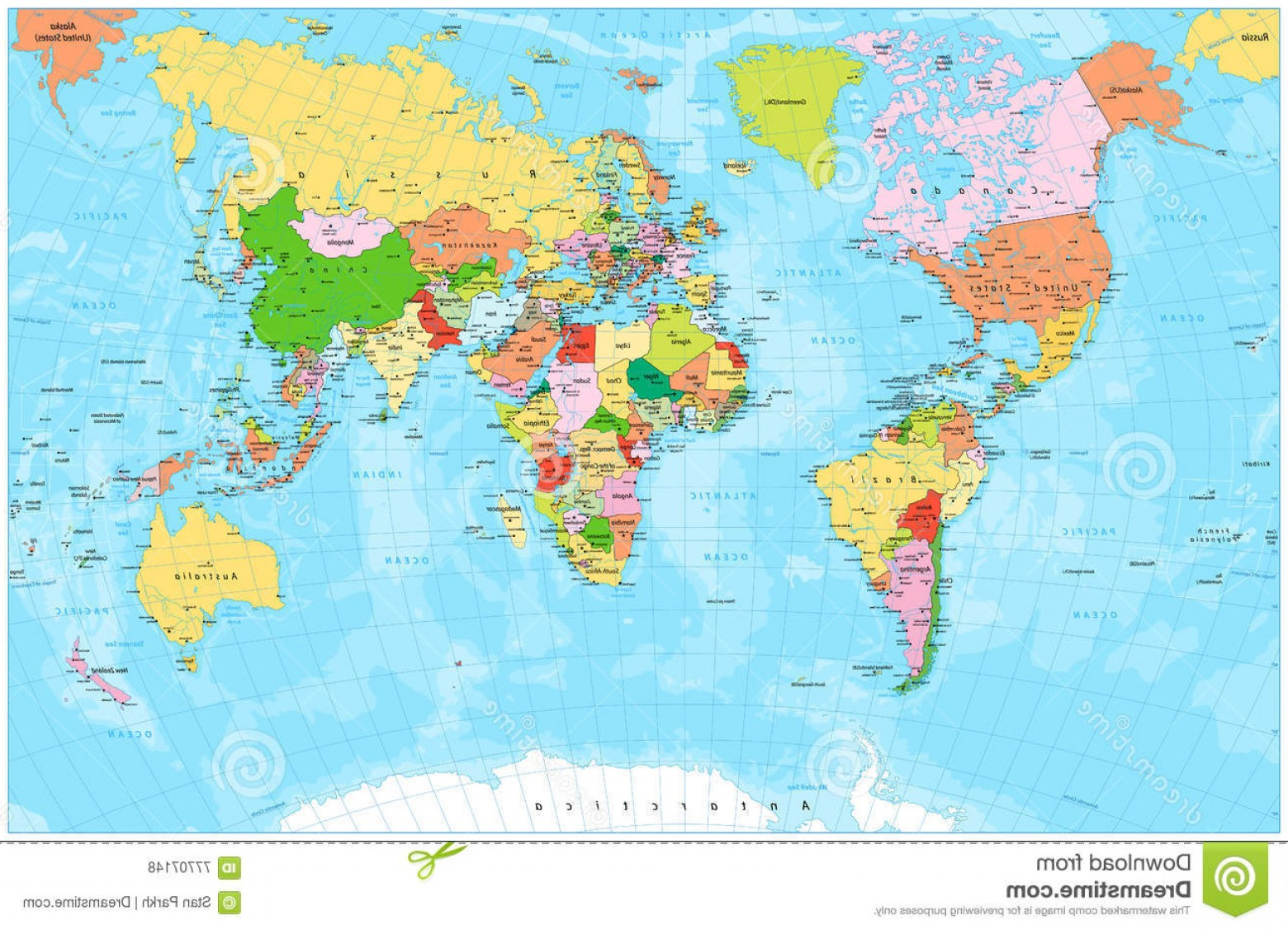 Vector World Map With Rivers: Stock Illustration Detailed Political World Map Capitals Rivers Lakes Vector Illustration Image