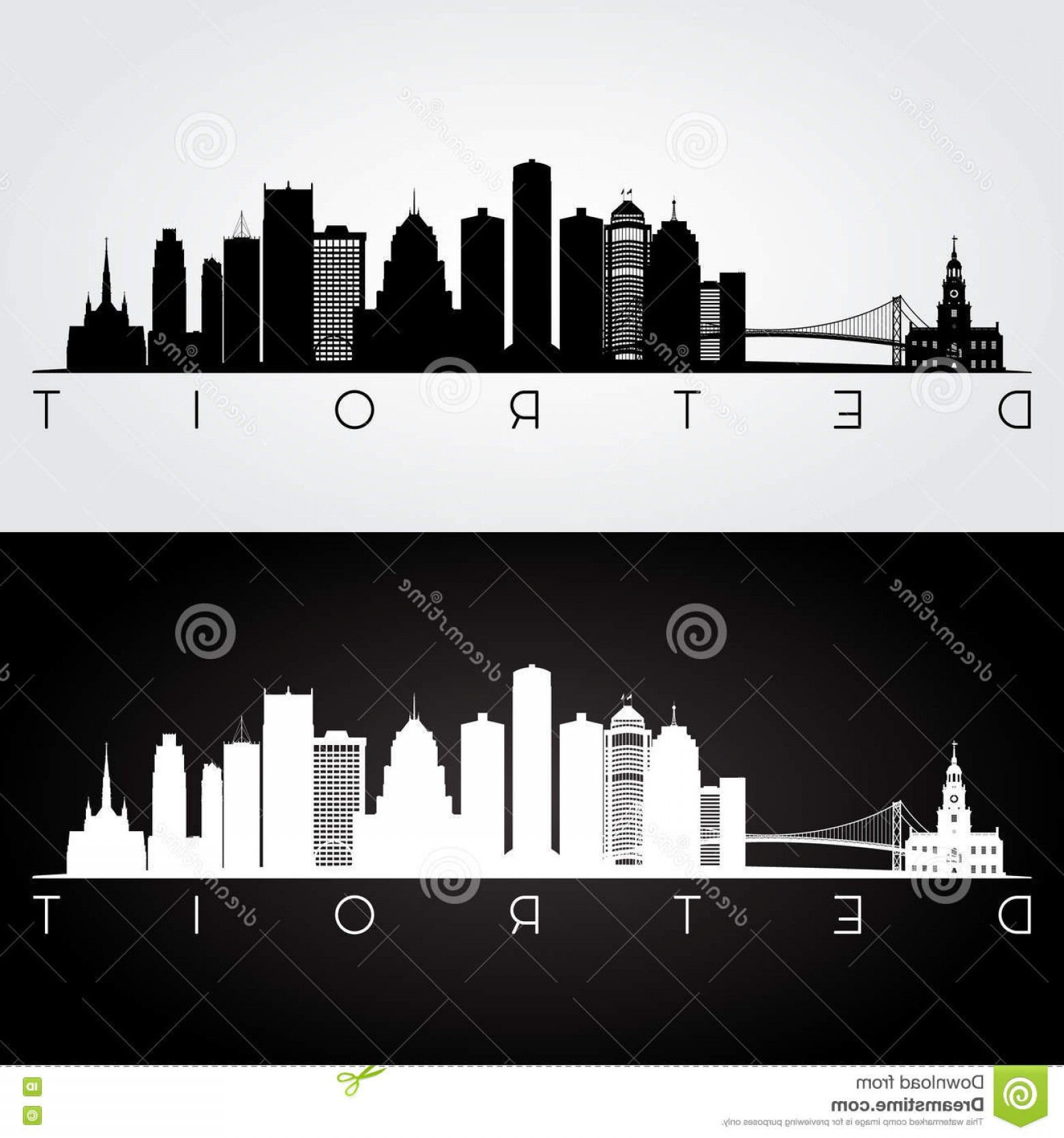 Michigan Vector Artwork: Stock Illustration Detroit Skyline Silhouette Usa Landmarks Black White Design Vector Illustration Image