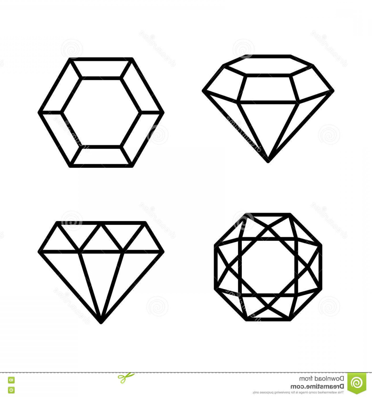 Black Diamond Vector Clip Art: Stock Illustration Diamond Gems Icons Set White Background Vector Illustration Image