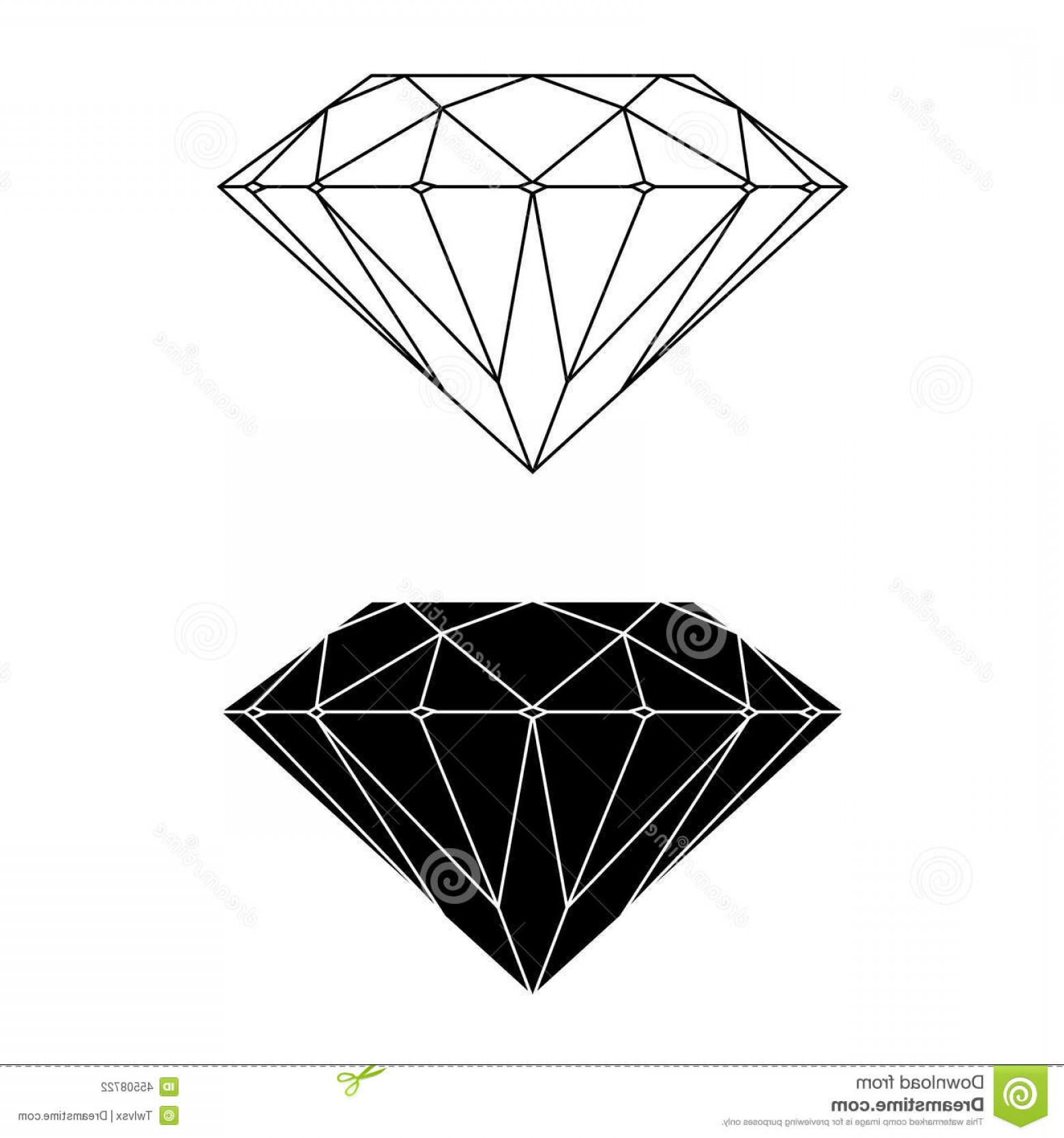 Black Diamond Vector Clip Art: Stock Illustration Diamond Vector Silhouette Simple Outline Image