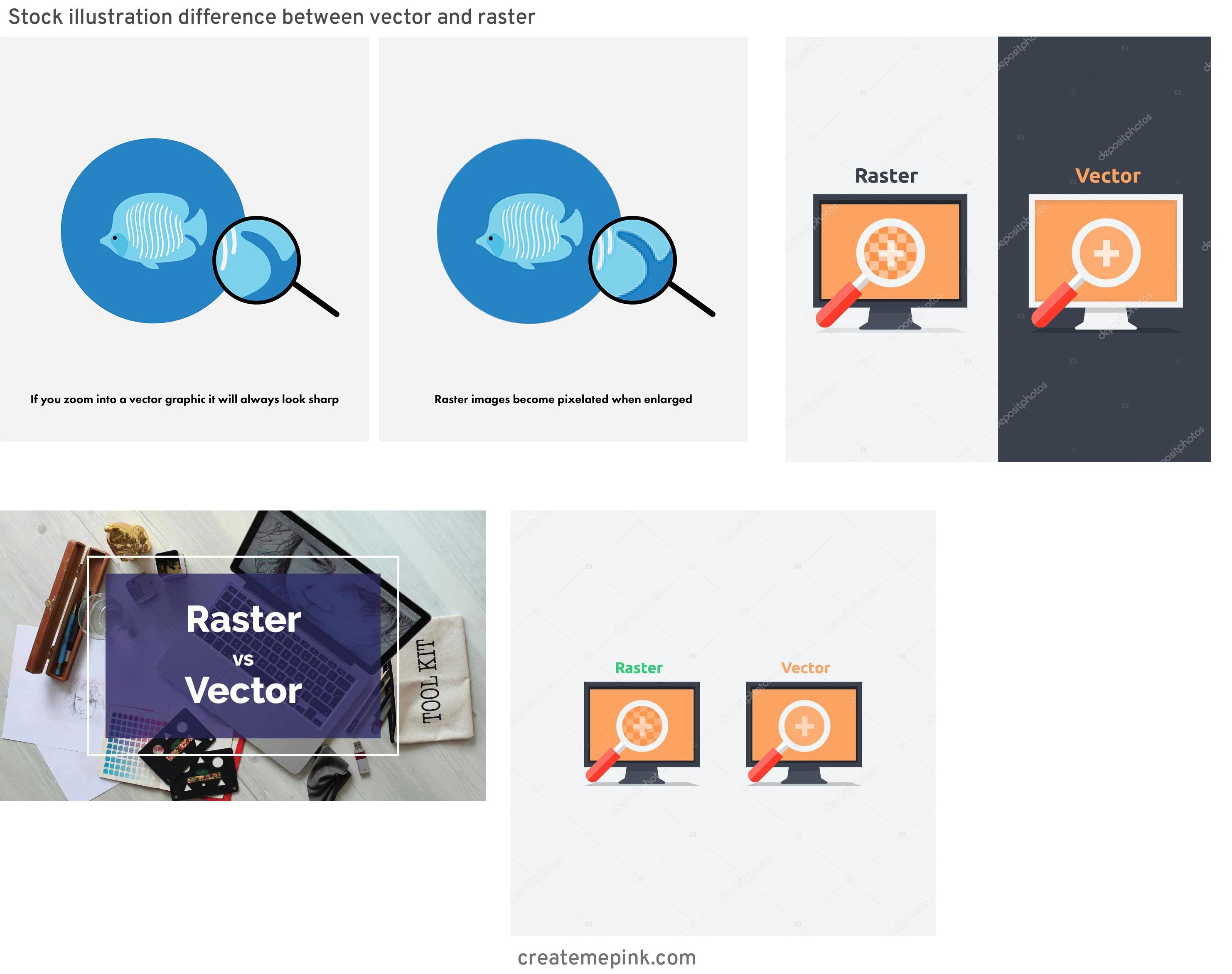 Difference Between Raster And Vector: Stock Illustration Difference Between Vector And Raster