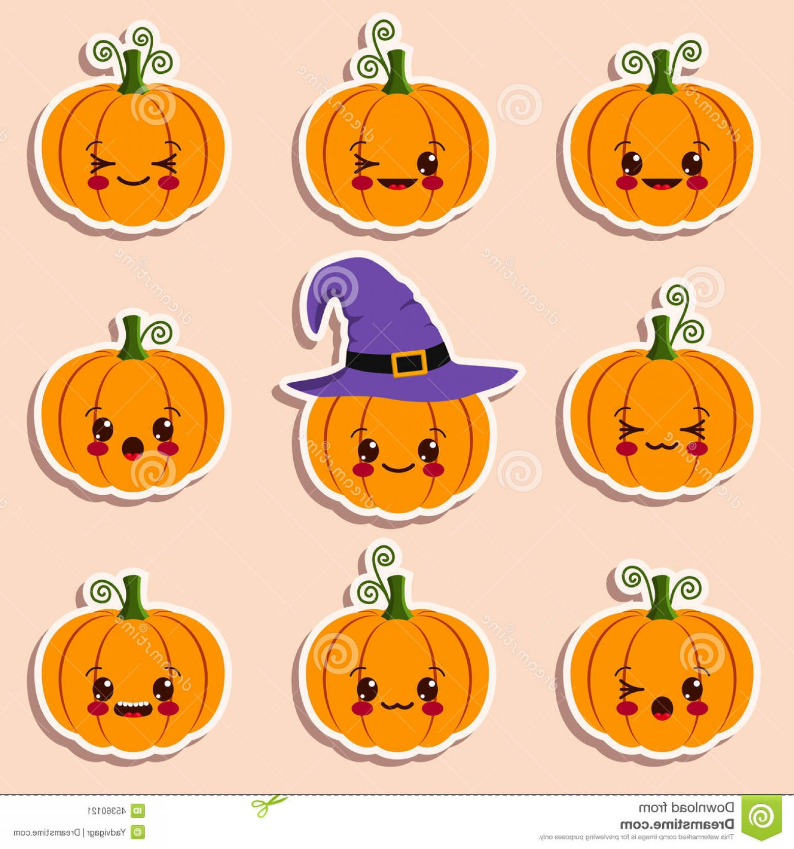 Vector Halloween Silhouettes Pumpkin With Glases Stock Illustration Different Halloween